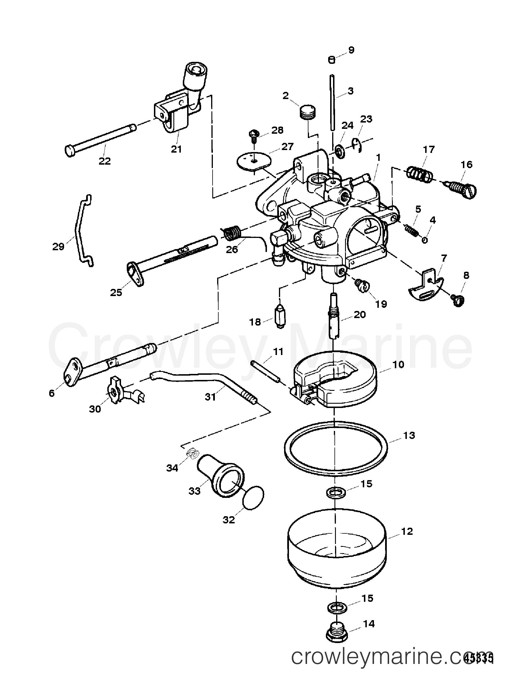 Carburetor 9 9 hp model 1300 852406t 1996 force for Force outboard motor parts diagram
