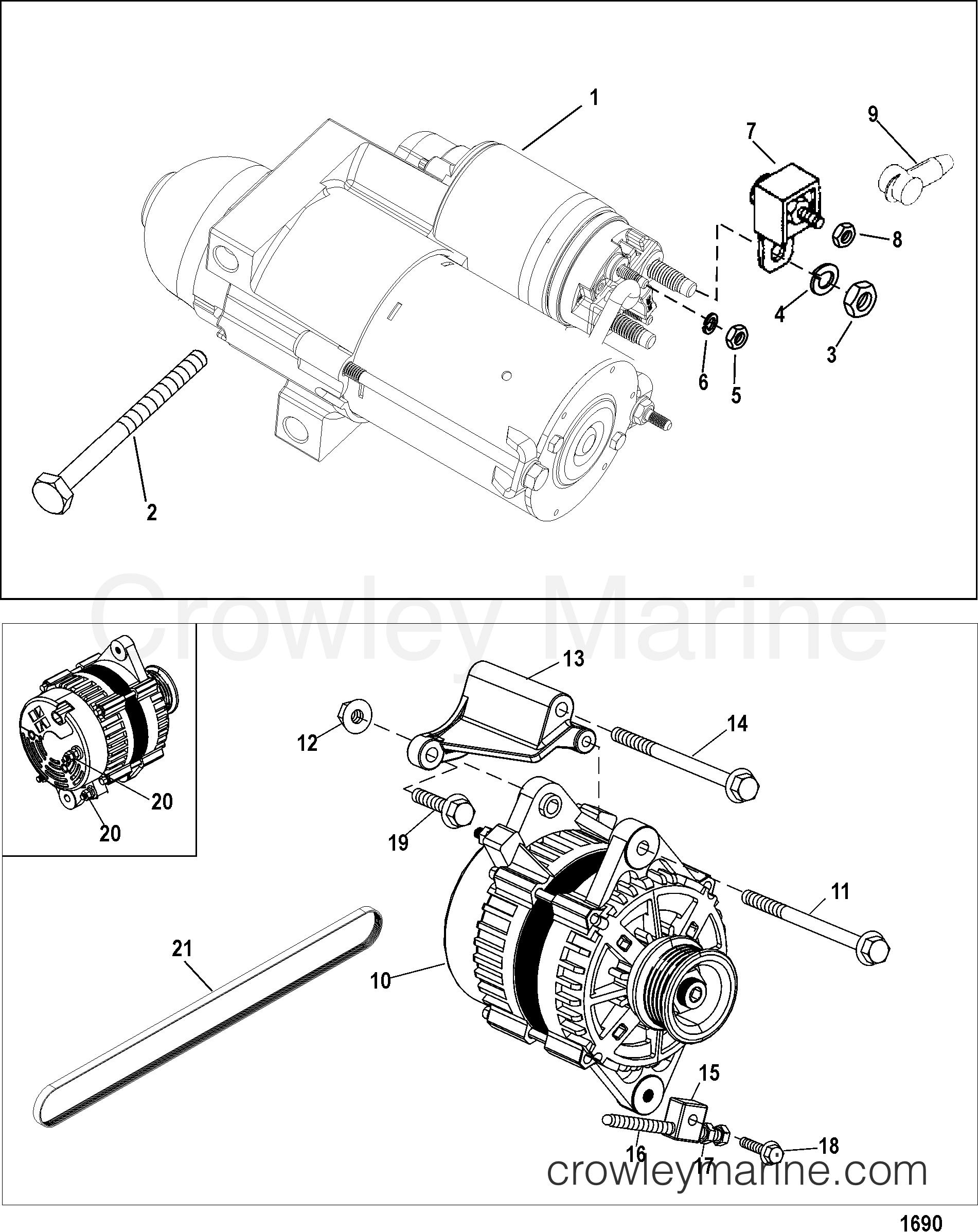 starter and alternator 1998 mercruiser 496 ho br mpi 5.0 Mercruiser Engine Wiring Diagram Mercruiser 5.0L Complete Engine