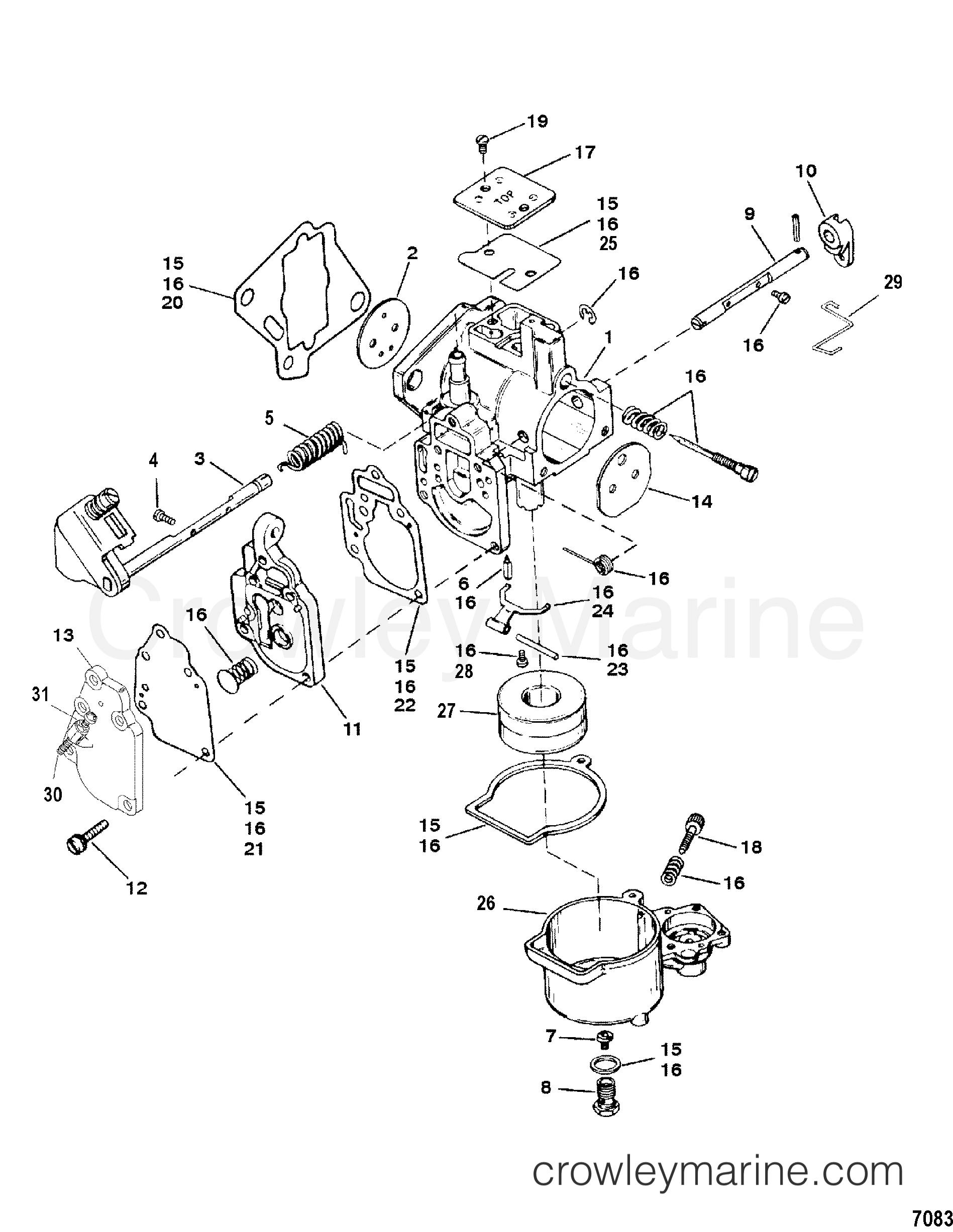 2002 Mariner Outboard 25 [M] - 7025201LD CARBURETOR(SEAPRO/MARATHON 15/25 & SUPER 15) section