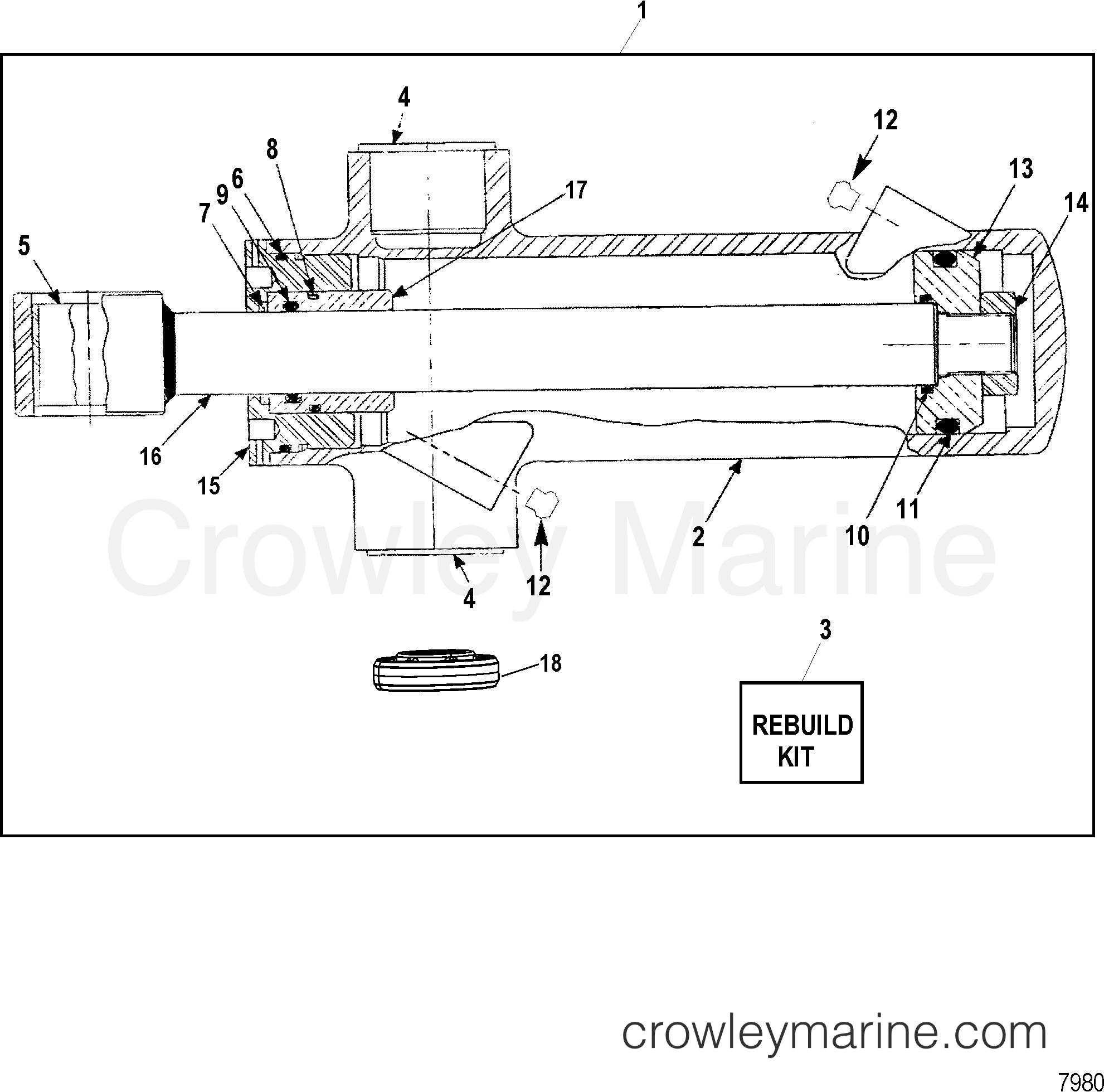 TRIM CYLINDER ASSEMBLY(WITH TRIM SENSOR PLATE) - 1991