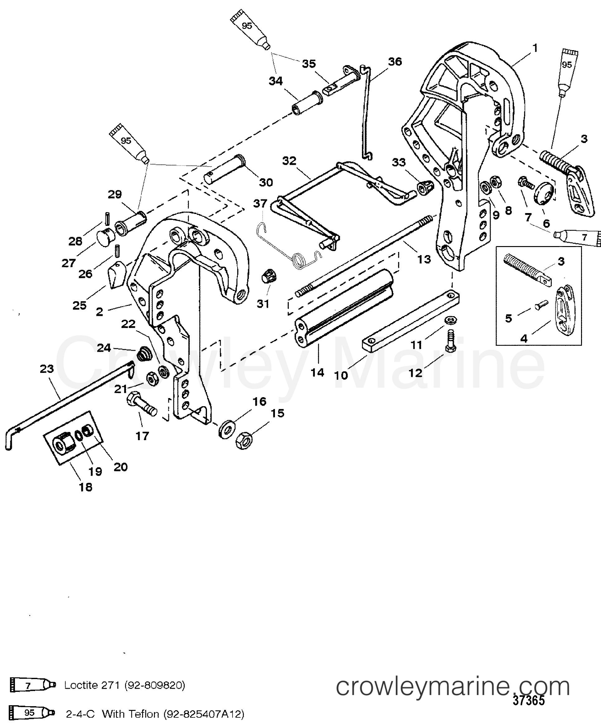 CLAMP BRACKET - 1994 Mariner Outboard 30 [ELO] 7031312CD   Crowley