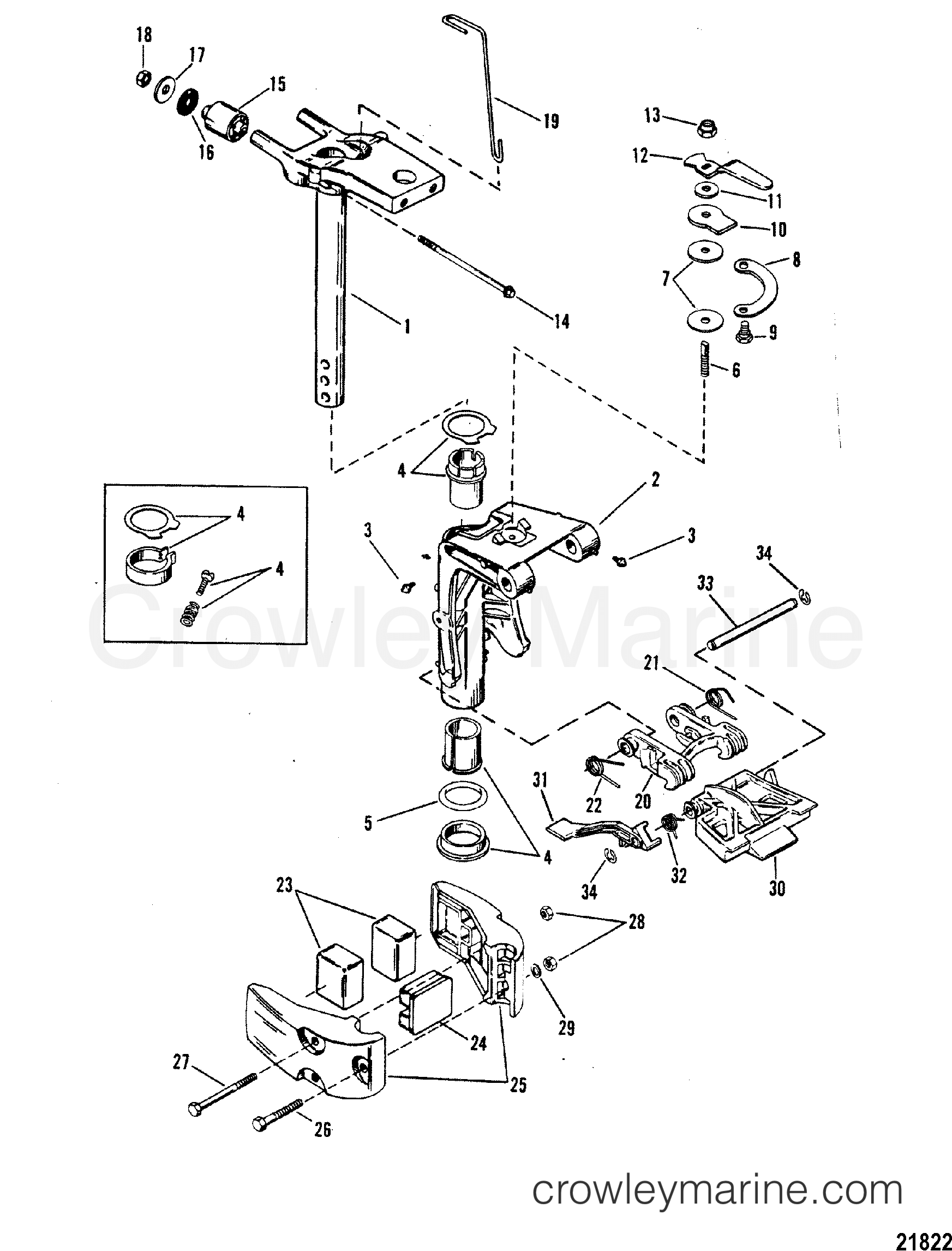1988 Mercury Outboard 25 [E] - 1025302BC - SWIVEL BRACKET ASSEMBLY section