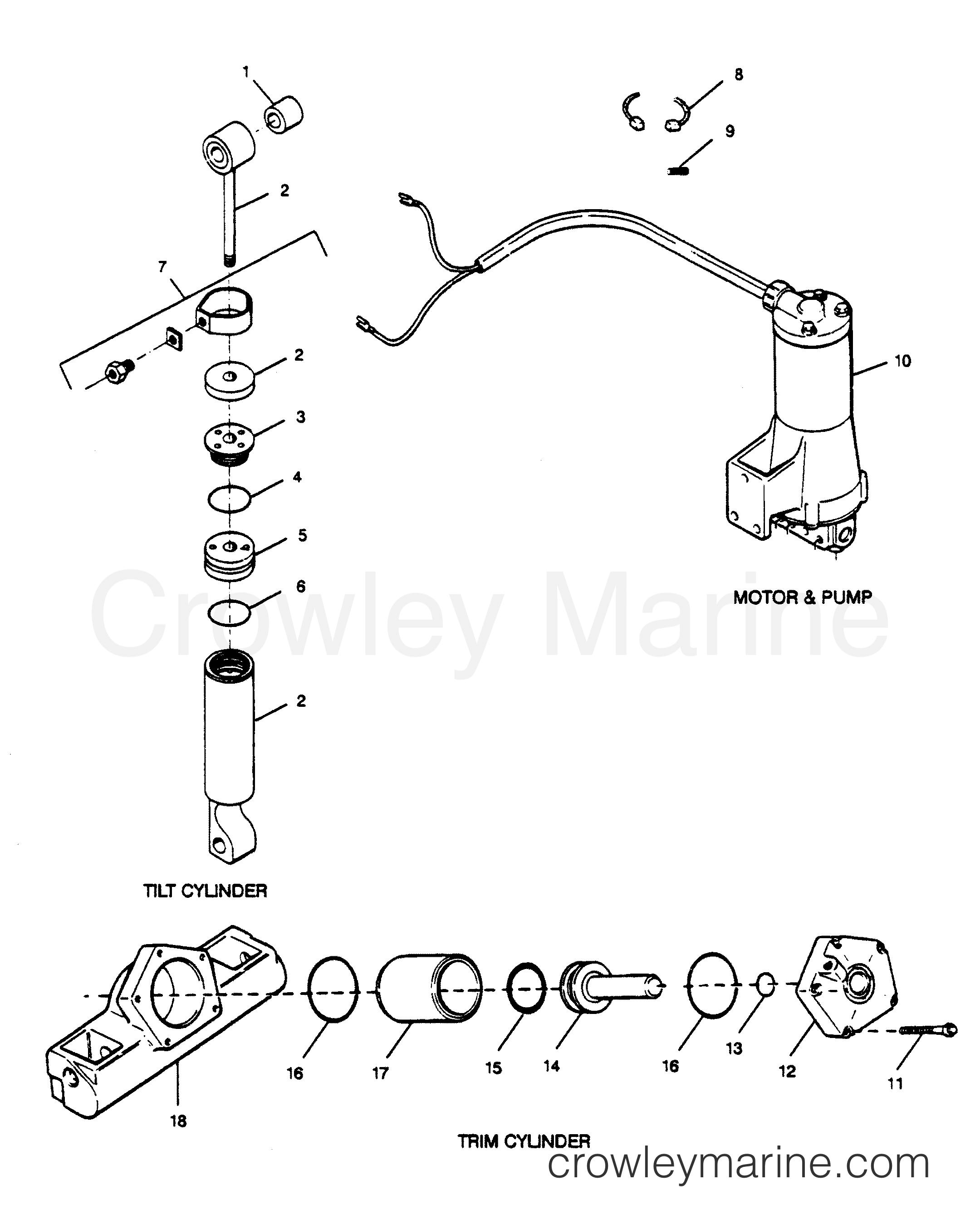 parts breakdown tilt cylinder  trim cylinder  motor  u0026 pump