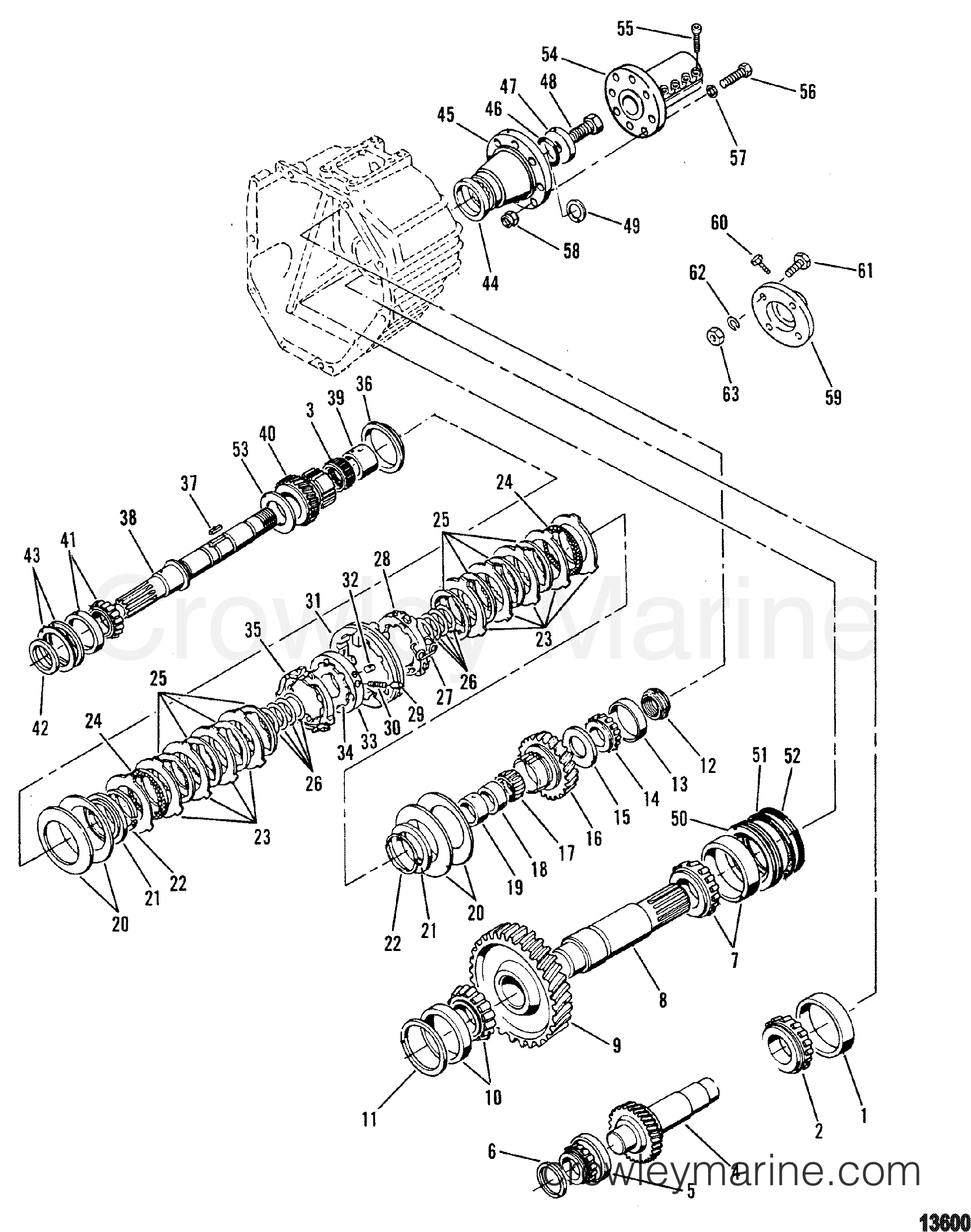 transmission 8 degree down   internal components