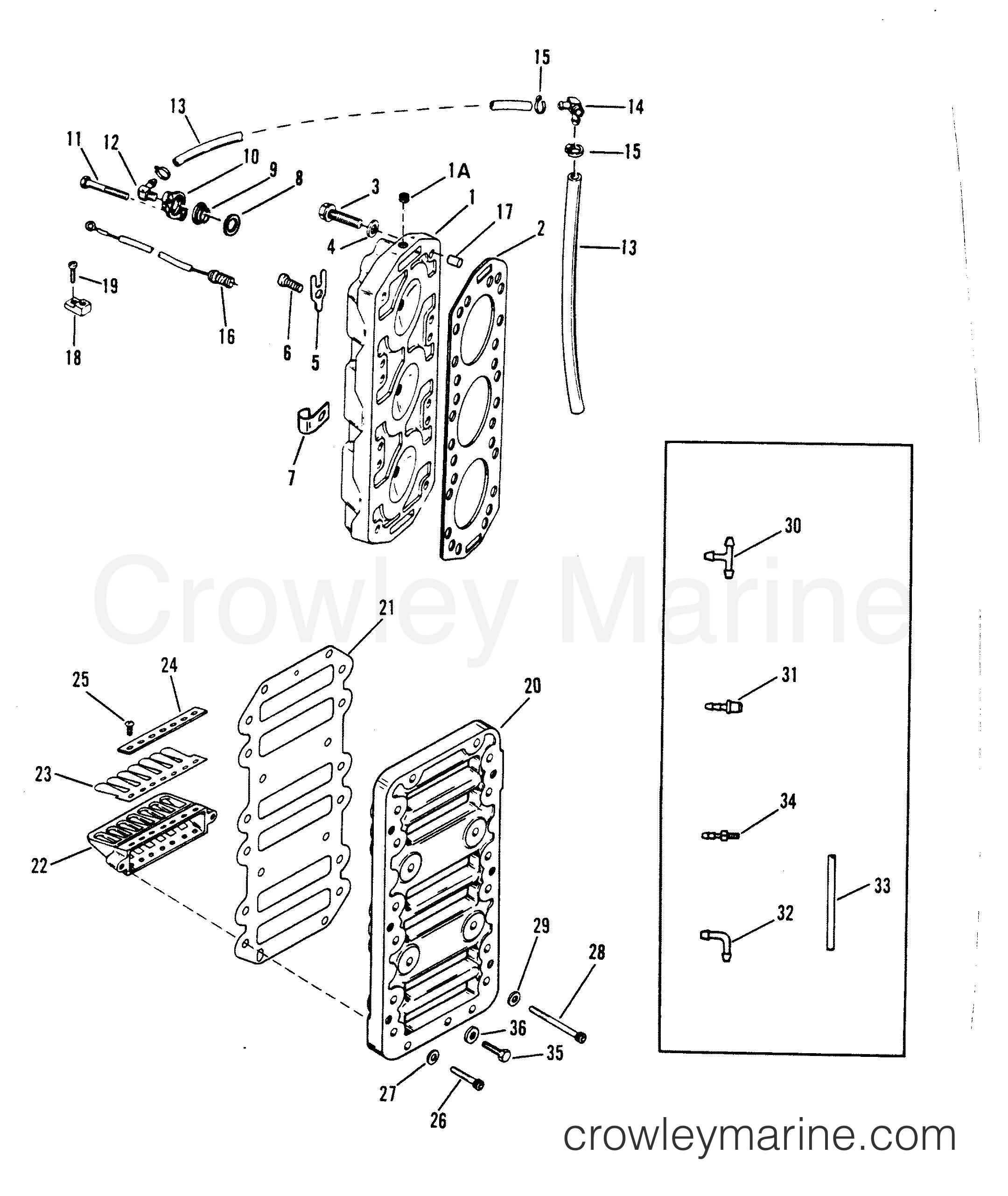 1993 Hors-bord de course Mercury 2.5 [L EFI] - 7925211BH - BLOC D'ANCHES ET CULASSE section