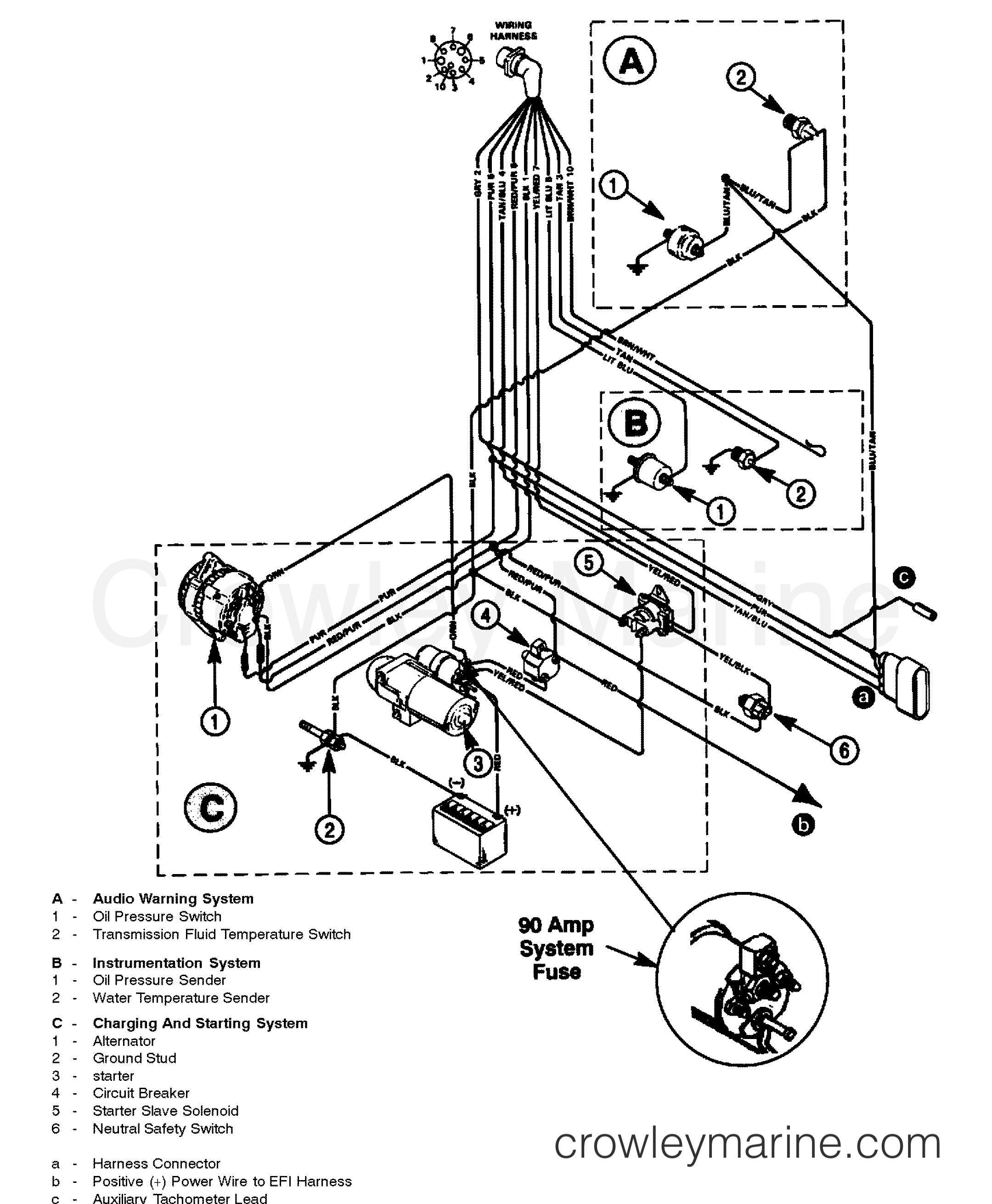 WIRING HARNESS (ENGINE) - 1997 Mercury Inboard Engine 350TBI ... on 1997 mercury cougar neutral safety switch, 1997 mercury cougar parts, 99 mercury cougar wiring diagram, 1997 mercury cougar battery, 1999 mercury mountaineer wiring diagram, 1998 mercury mystique wiring diagram, 1991 mercury capri wiring diagram, 1997 mercury mountaineer fuse box diagram, fuel pump wiring harness diagram, 1997 mercury cougar antenna, 2000 mercury villager wiring diagram, 2005 mercury sable wiring diagram,