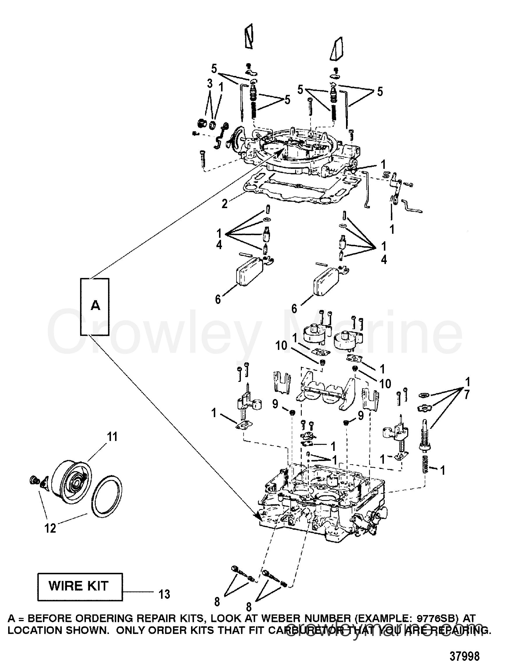 carburetor(weber) 1996 mercruiser 4 3lx [alpha] 443lc00jt 4.3 l mercruiser engine 1996 mercruiser 4 3lx [alpha] 443lc00jt carburetor(weber) section