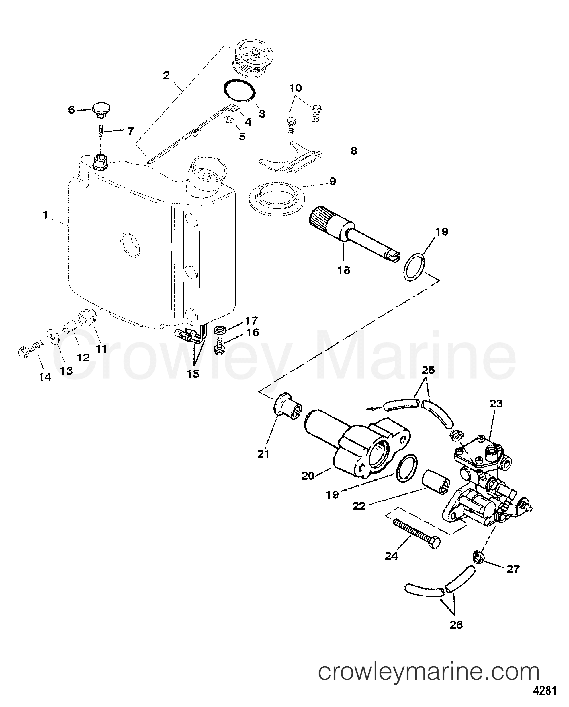 Serial Range Mercury Outboard 80 JET - 0P017000 THRU 0P325499 [BEL] - OIL INJECTION COMPONENTS section