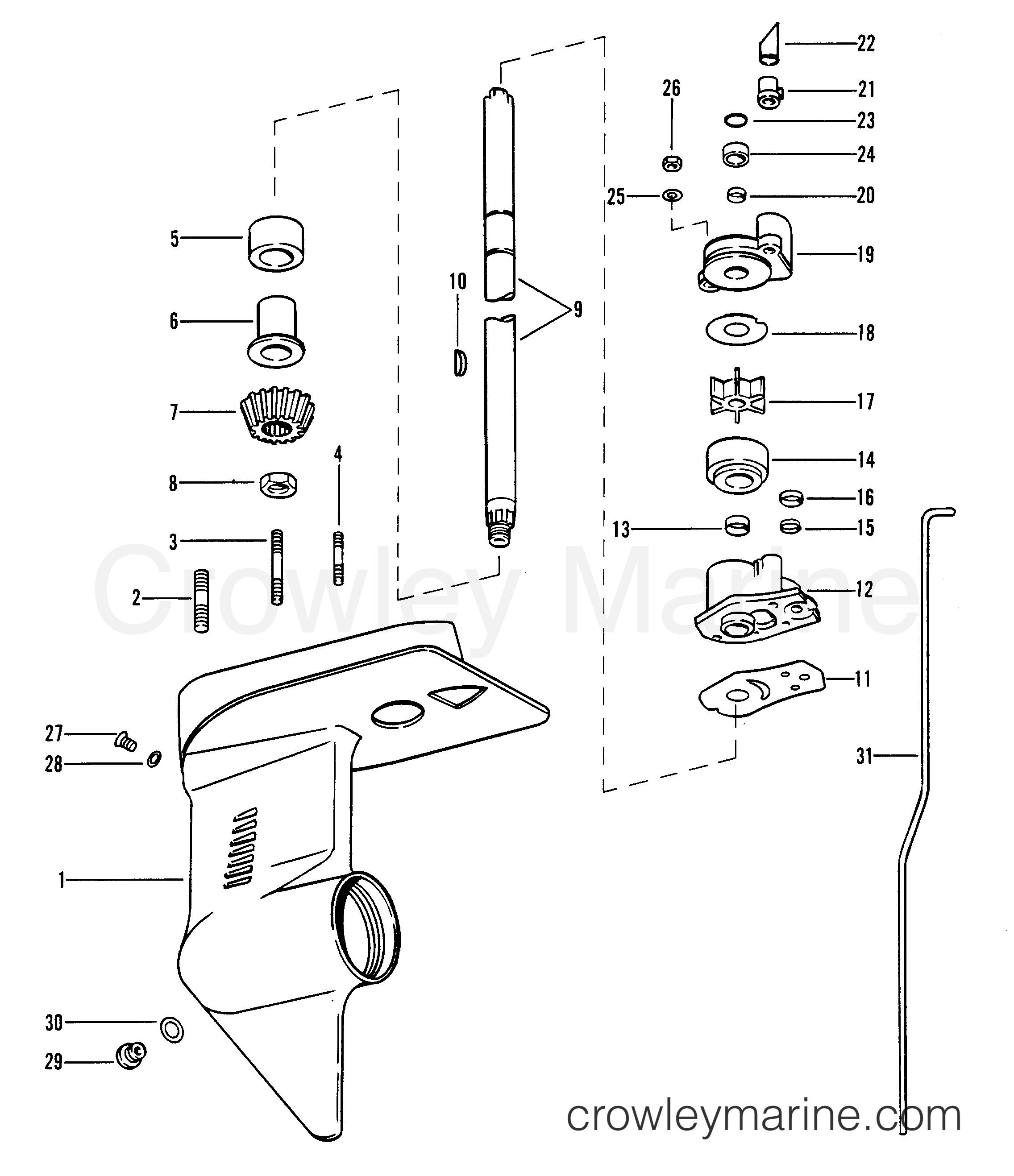 ремонт редуктора на лодочном моторе меркури