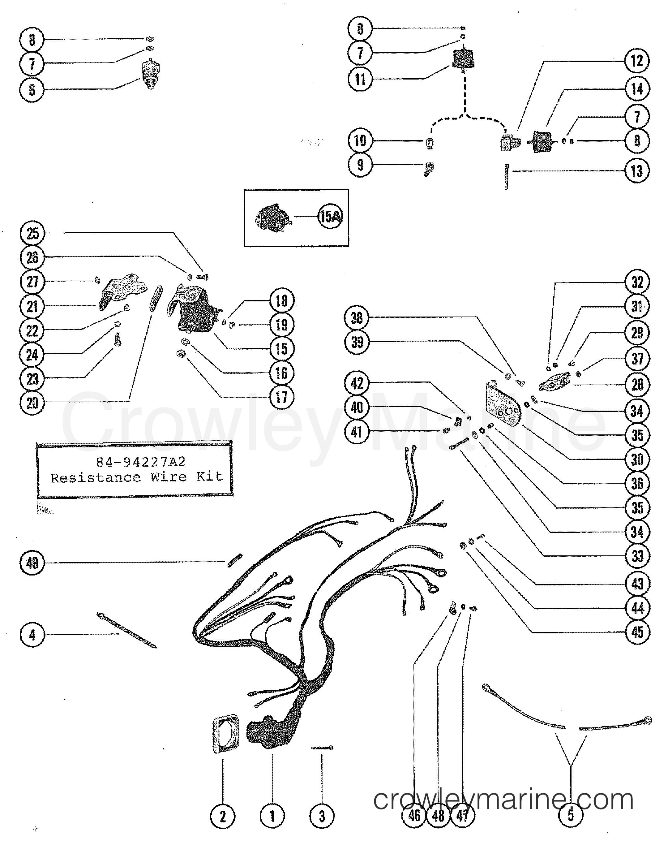 wiring harness and starter solenoid 1975 mercruiser 165  7 4 mercruiser wiring diagram wiring