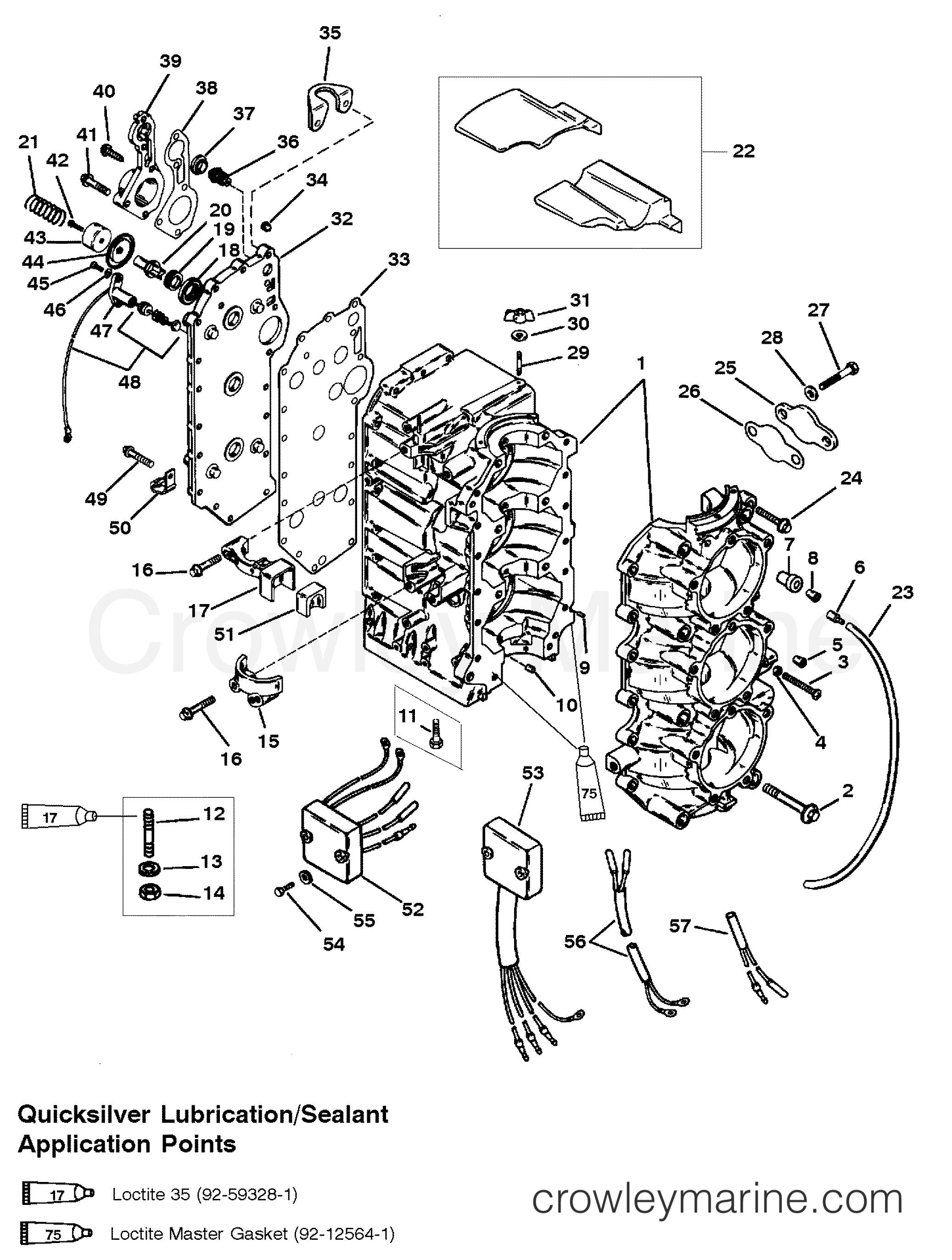 1994 Mercury Outboard 75 [ELH] - 1075357PD - CYLINDER BLOCK (USA-0G127499/BEL-9836632 & BELOW) section