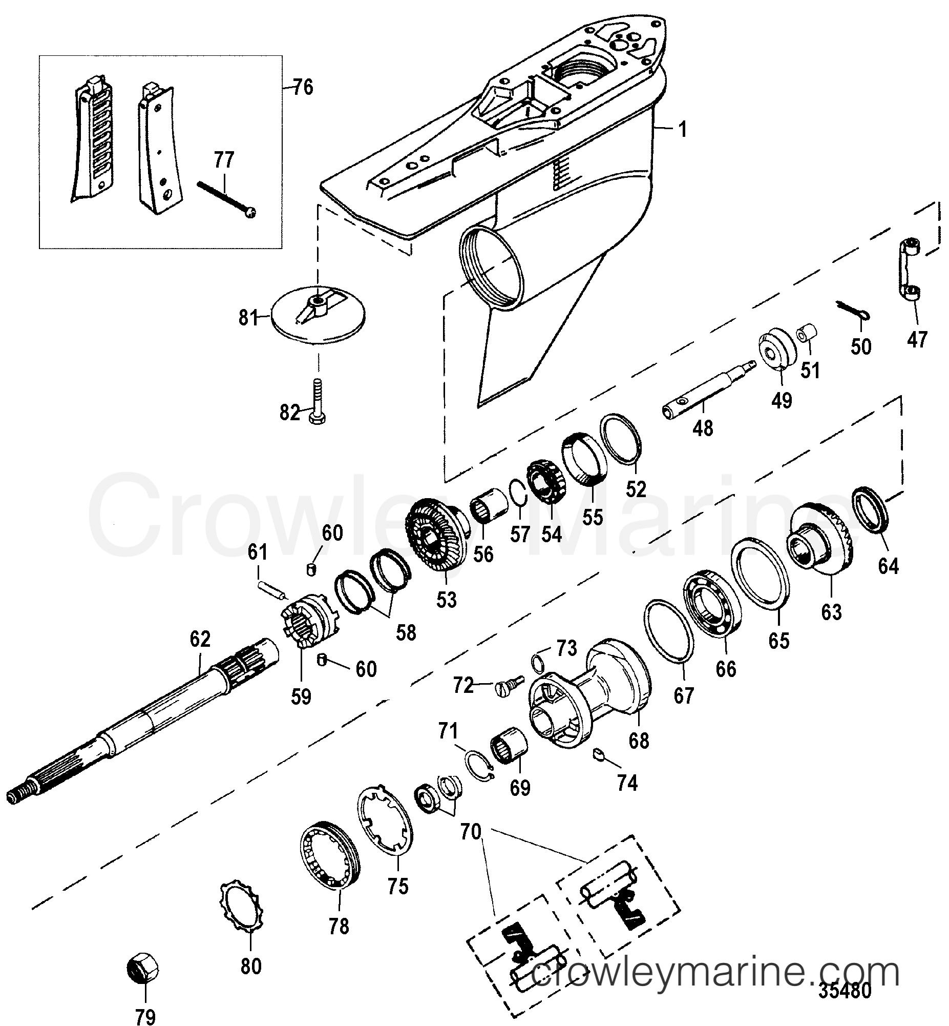 gear housing  propeller shaft