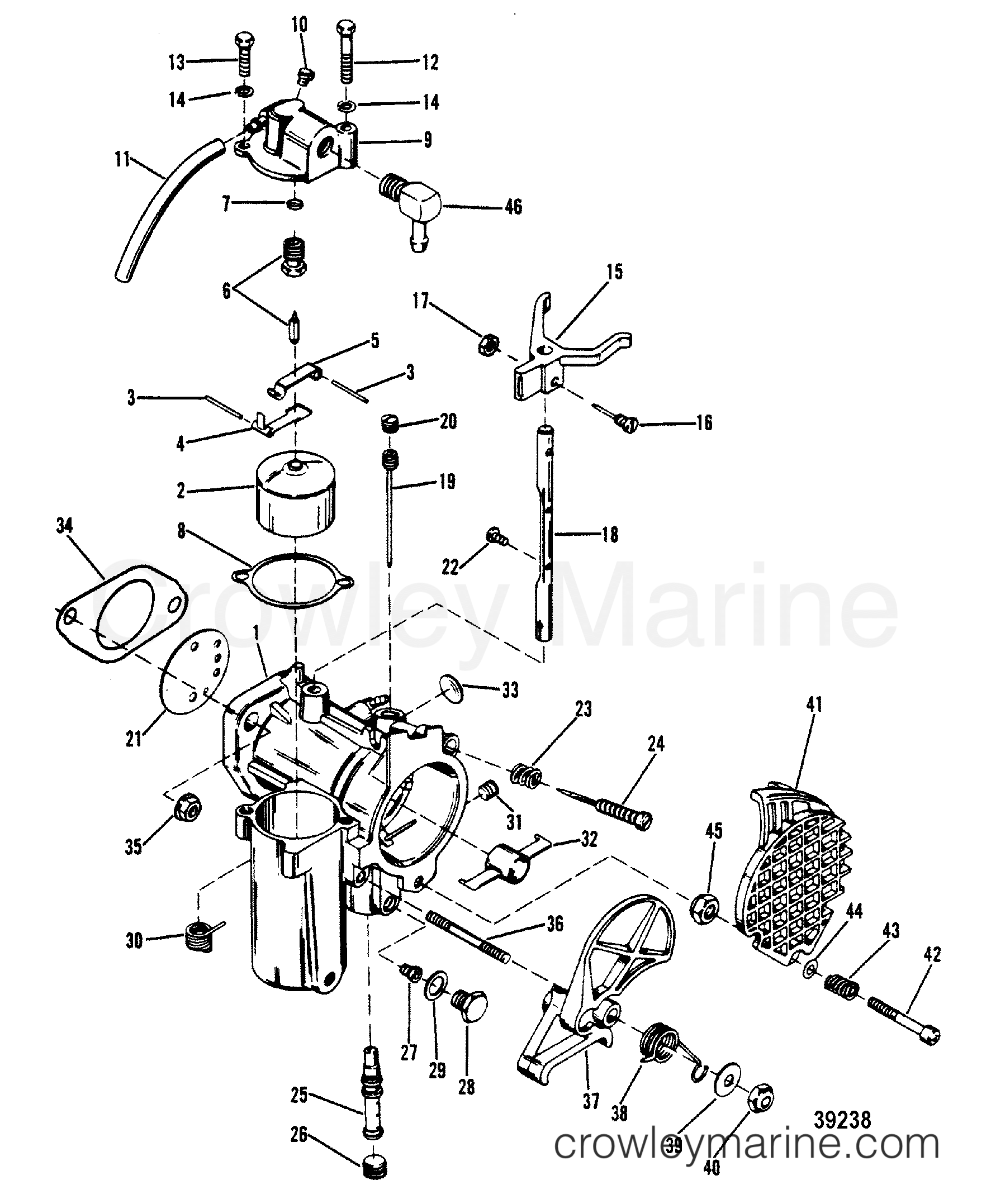mercury carb diagram best wiring library Murray 42910x92A Diagram for Briggs and Stratton 16Hp 1980 mercury outboard 40 eh 1040530 carburetor assembly section
