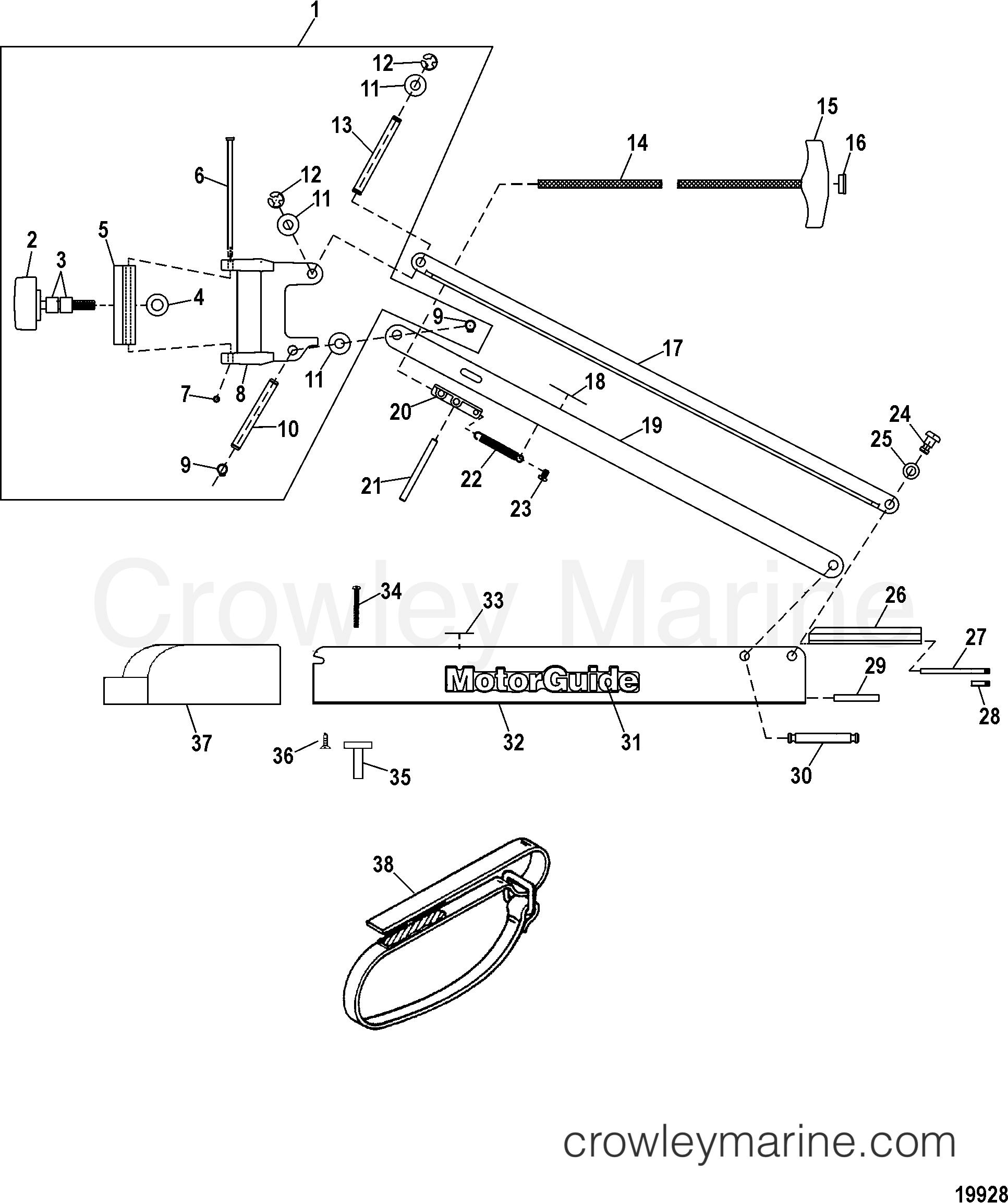 2005 MotorGuide 12V [MOTORGUIDE] - 921310040 07 BOW (BLACK)(36.00 INCH) (MST90736B) section