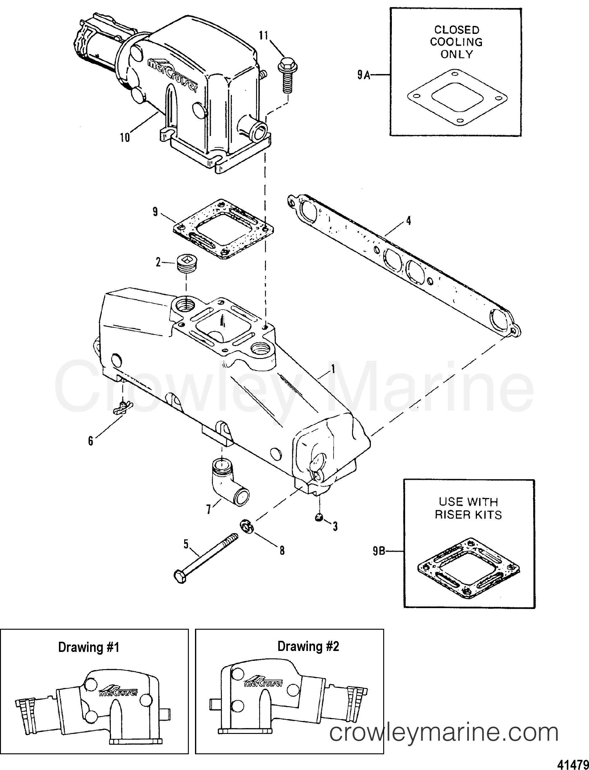 1988 Mercury Outboard Diagram Cooling Electrical Wiring Diagrams 150 Xr2 Exhaust Manifold And Elbowstainless Steel Starter