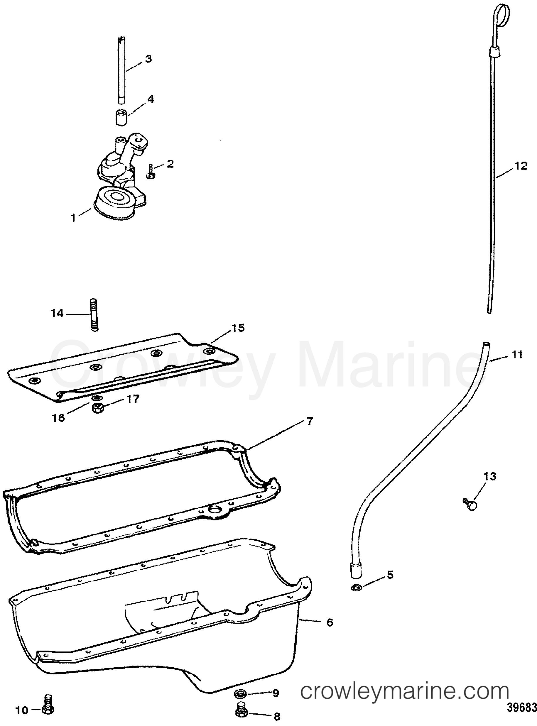 1993 Mercruiser 502EFI [BRAVO] - 4502111FE - OIL PAN AND OIL PUMP section
