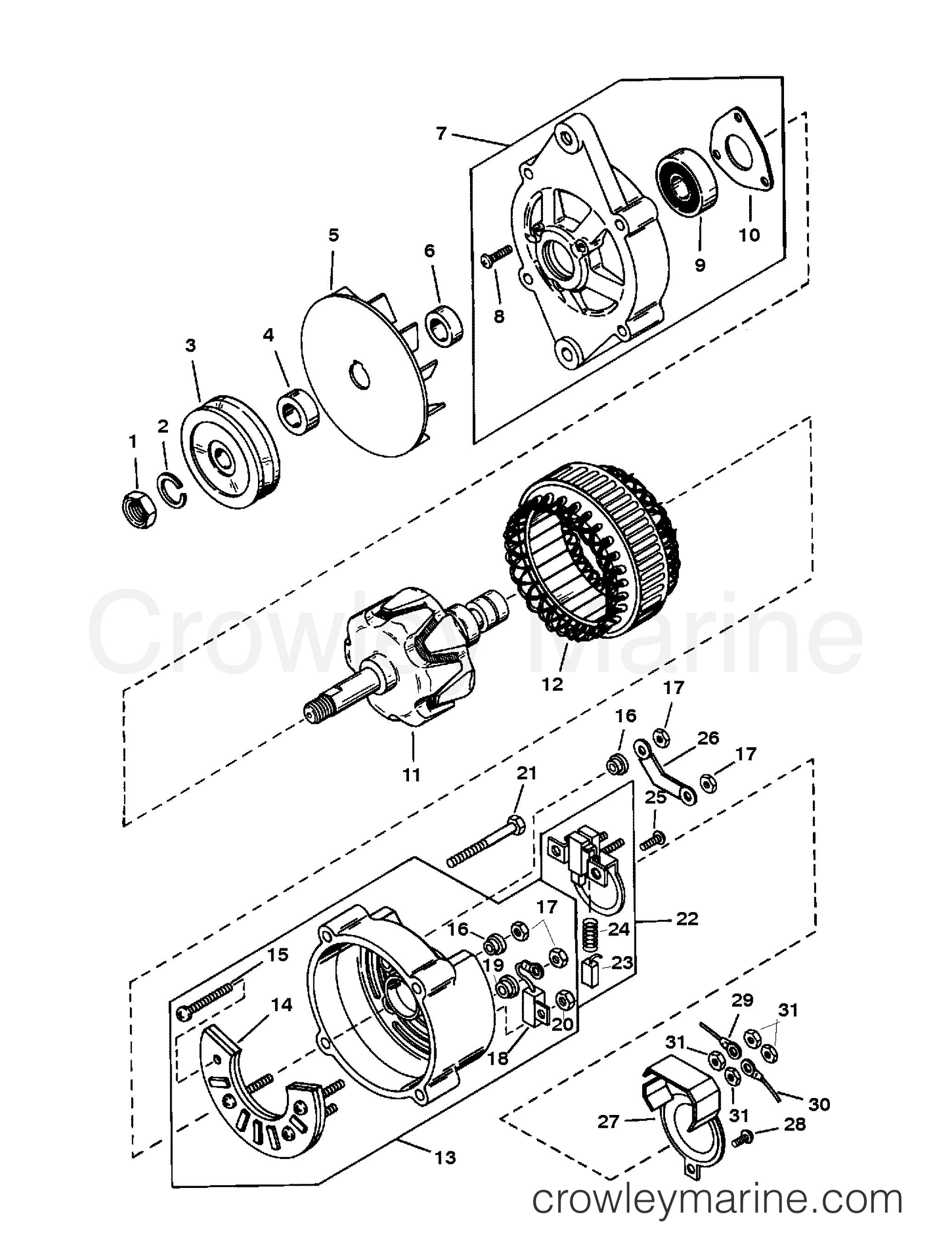 ALTERNATOR (MANDO #AC155603) - 1991 Mercury Inboard Engine 5.7L ...