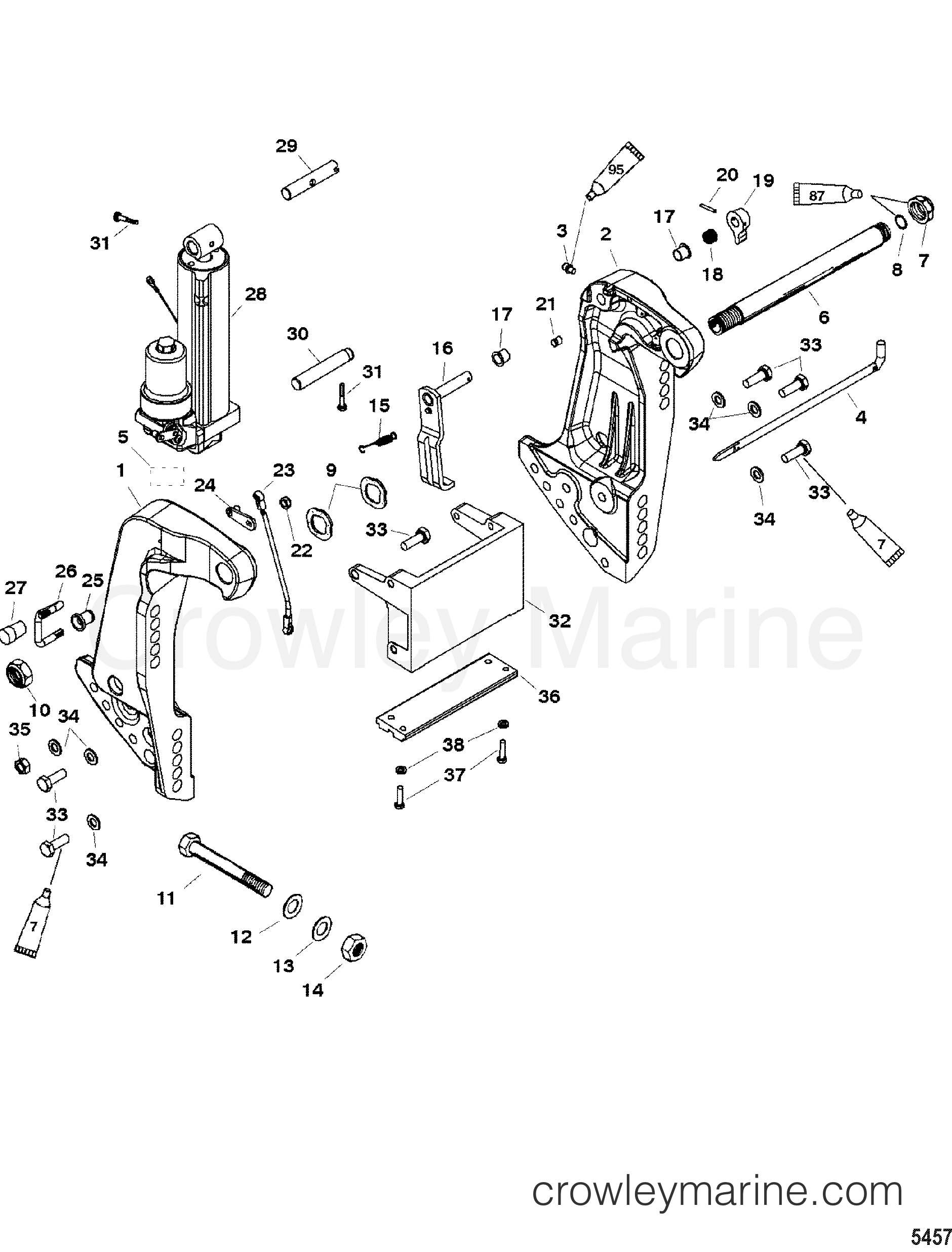 2004 Mercury Outboard 75 [MLH] - 1075217CD TRANSOM BRACKET(SN- USA 0T800999/ BEL 0P267999 AND BELOW) section