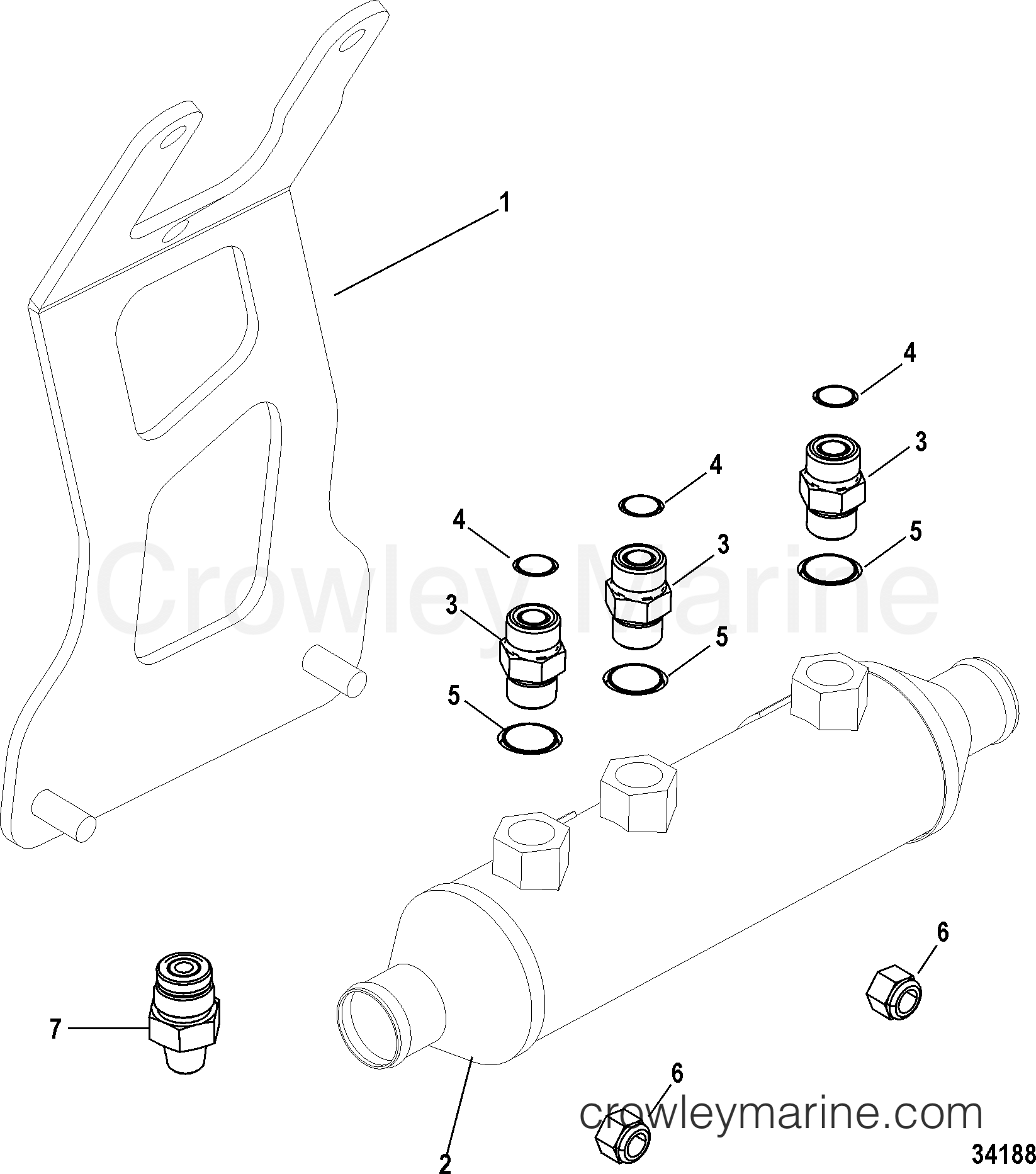 Mercruiser 350 Oil Cooler Diagram Trusted Wiring Diagrams Engine Axius Steering Components And Bracket Gen I 1998 454 Transmission