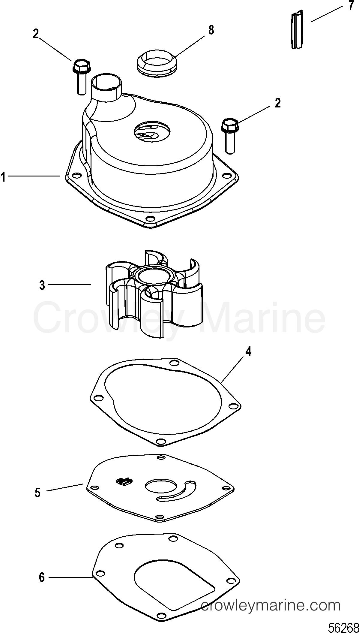 2014 Mariner Outboard 100EFI [ELPT 4] - 7100F131F - WATER PUMP KIT, JET section