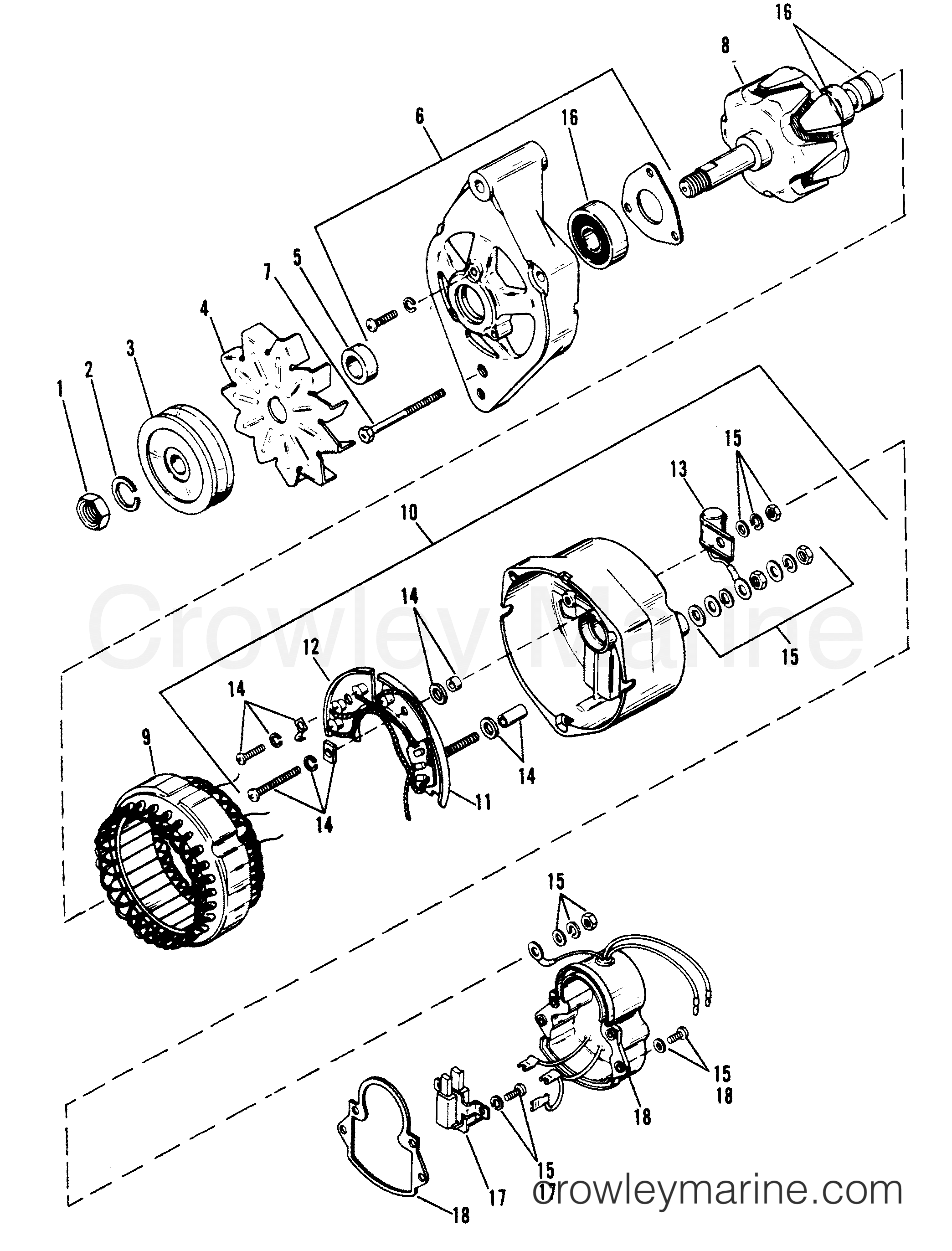 ALTERNATOR (MANDO) - 1986 Mercruiser 454 06661346 | Crowley Marine