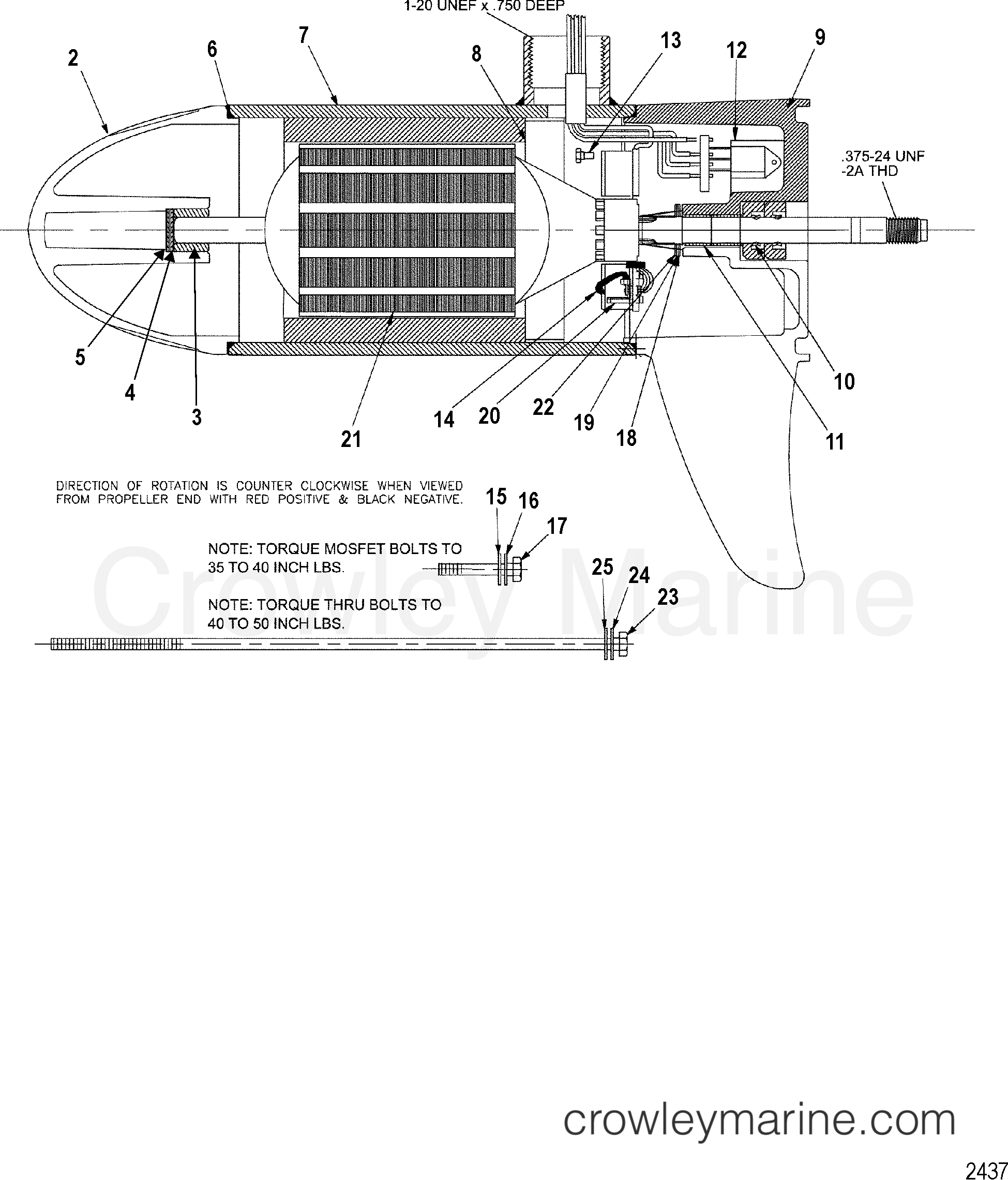 1999 MotorGuide 12V [MOTORGUIDE] - 9ET45B1VU - LOWER UNIT ASSEMBLY(50# - VARIABLE) (MTM397032) section