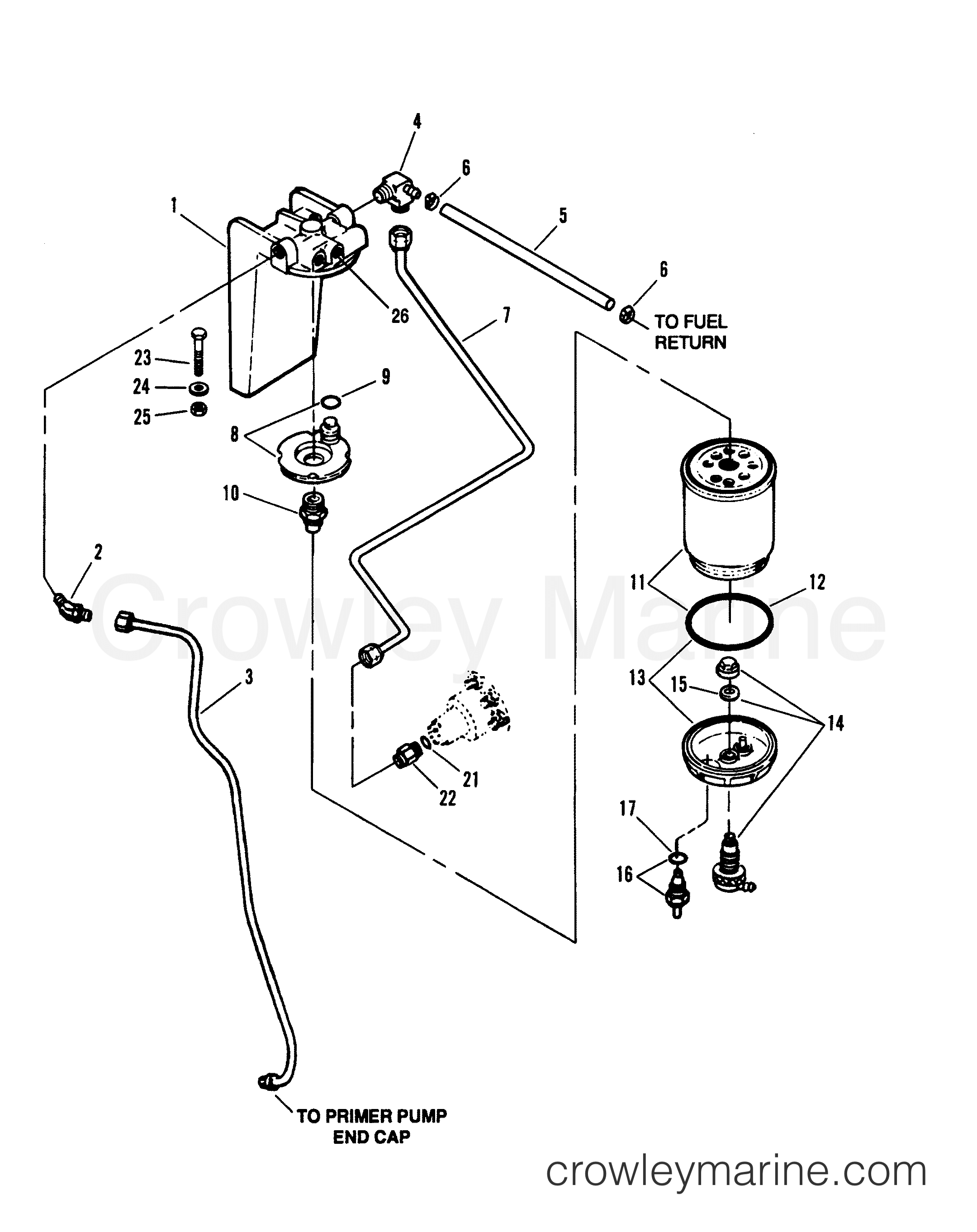 1994 mercruiser 7 3l [bravo] - 473b1f0gs - fuel filter and bracket (inboard