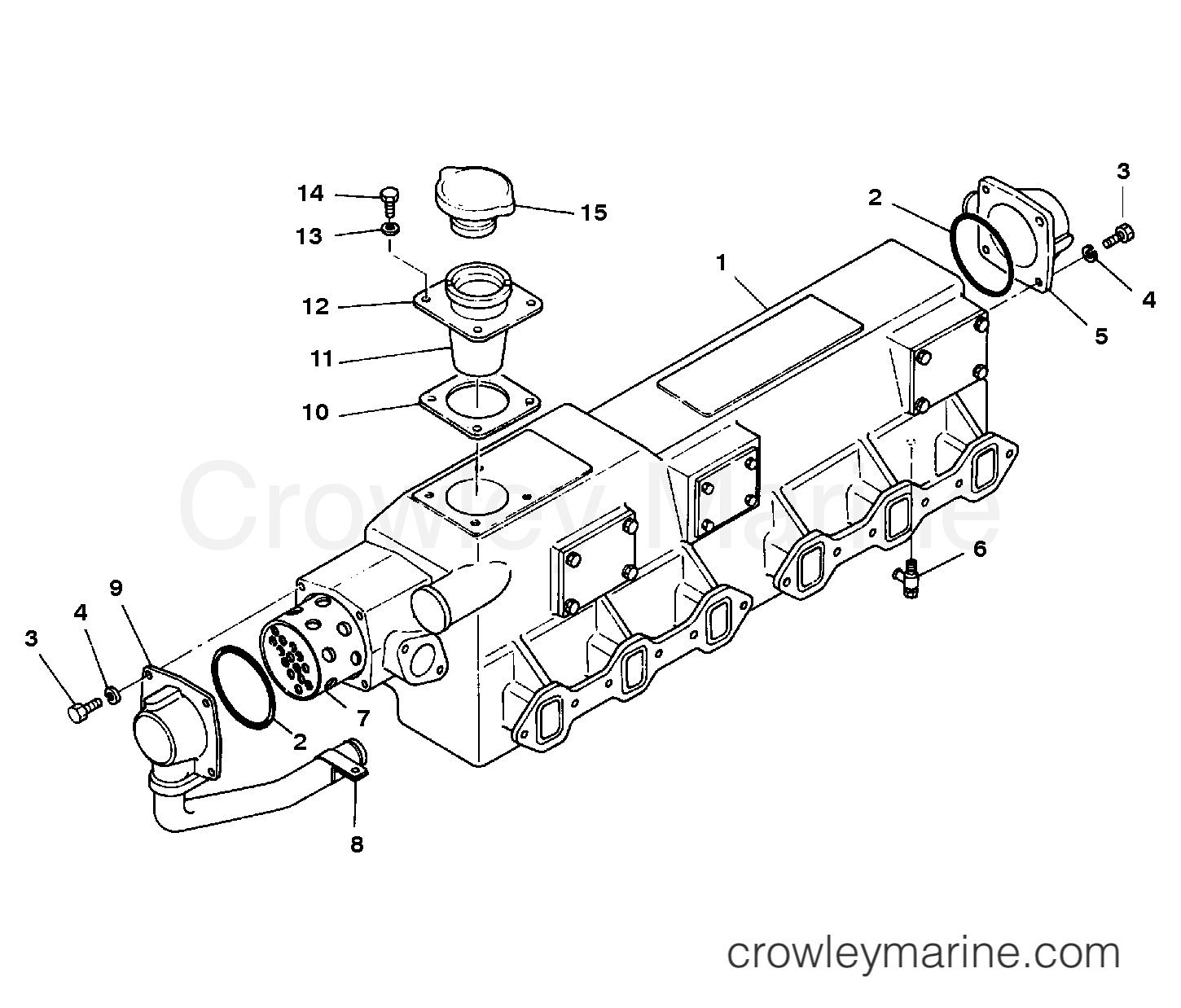 Manifold Assembly Exhaust Serial Range Mercruiser Eh700 175 Hino Engine Diagrams 220hp 393 I L6 All