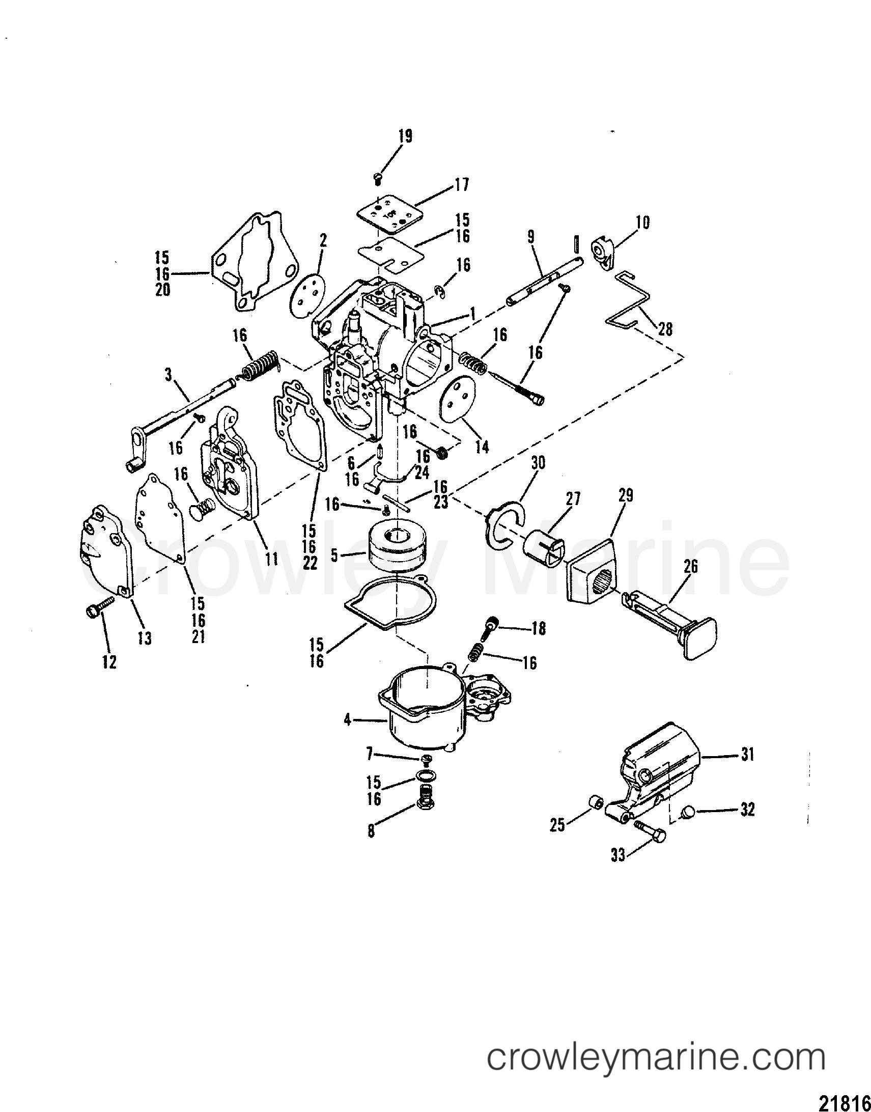 1989 Mariner Outboard 20 [MLH] - 7020211PD CARBURETOR(SEAPRO/MARATHON 25/ SUPER15) section