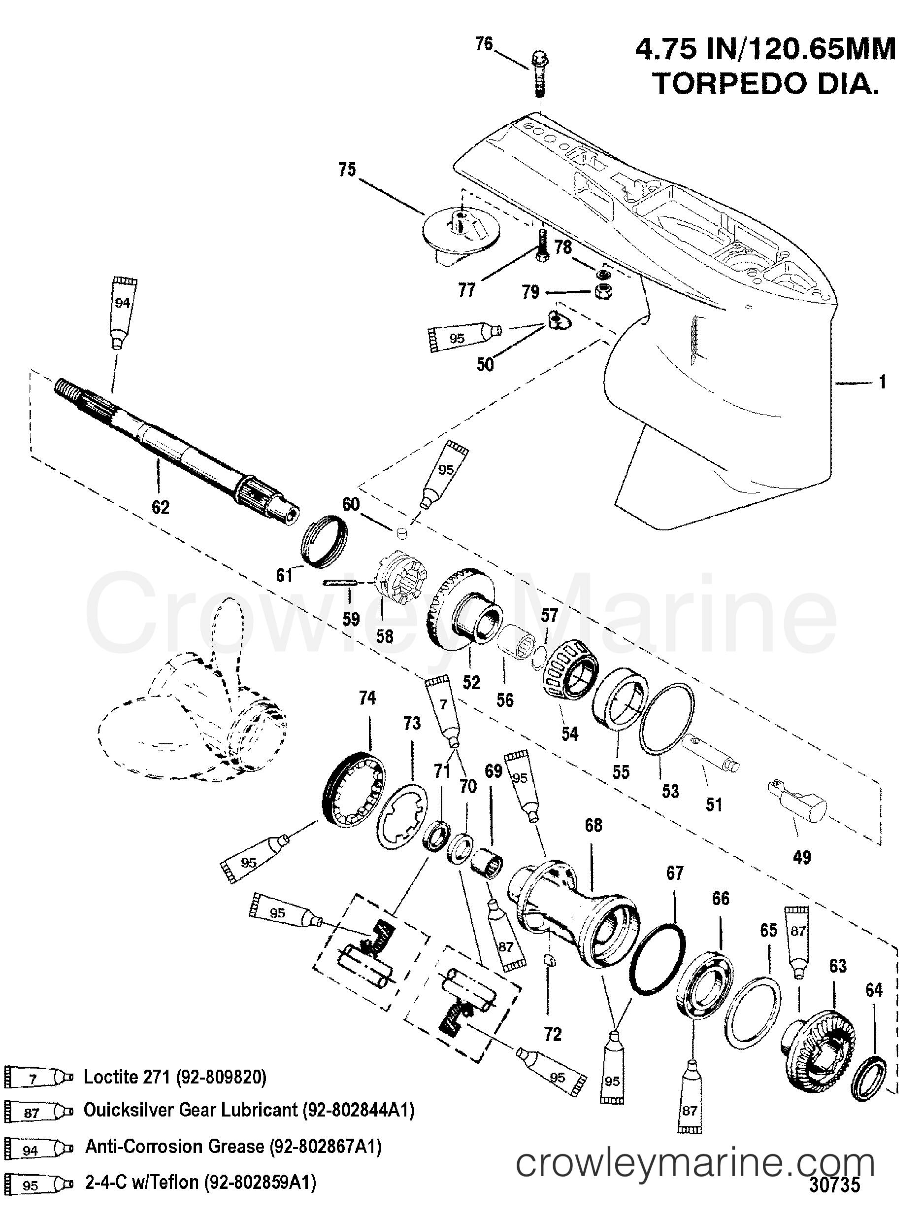 gear housing prop shaft  standard rotation