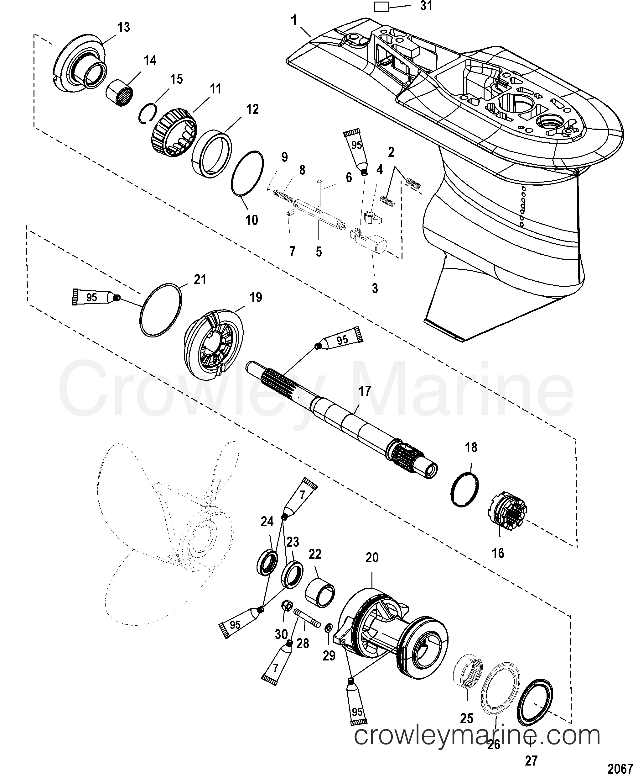 2006 Mercury Outboard 40EFI [ELPT 4] - 1E41412FB - GEAR HOUSING(PROP SHAFT-2.33:1)(SERIAL #1C033811 & UP) section