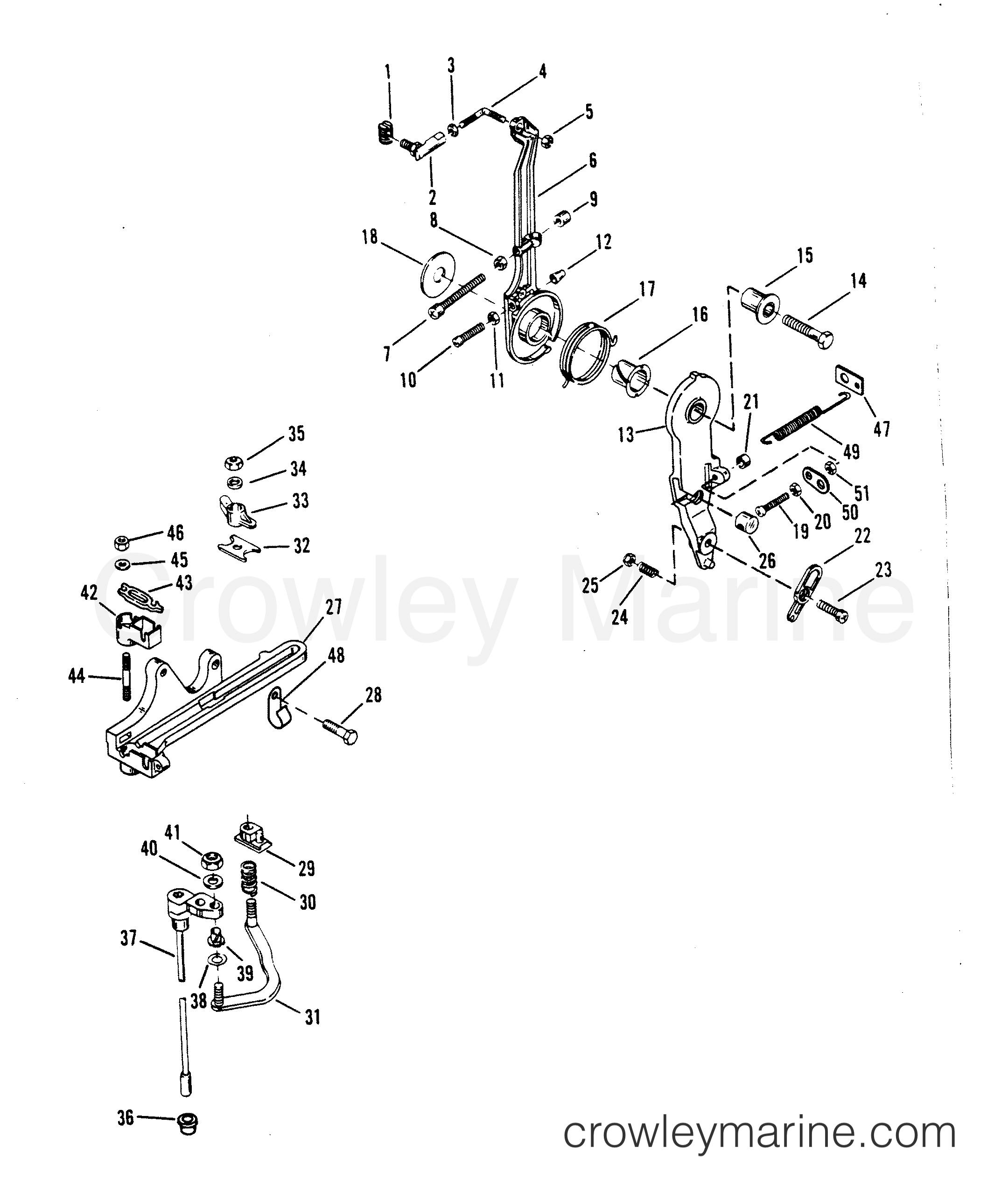 1993 Hors-bord de course Mercury 2.5 [L EFI] - 7925211BH - LEVIER D'ACCÉLÉRATEUR ET ARBRE DE COMMANDE section