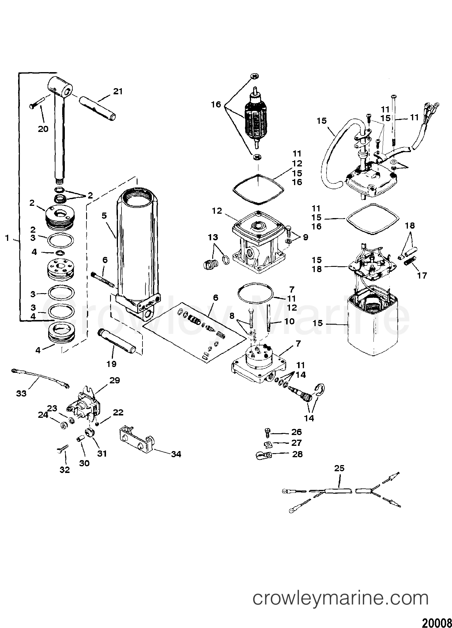 Power Trim Components Design I 1996 Force Outboard 90