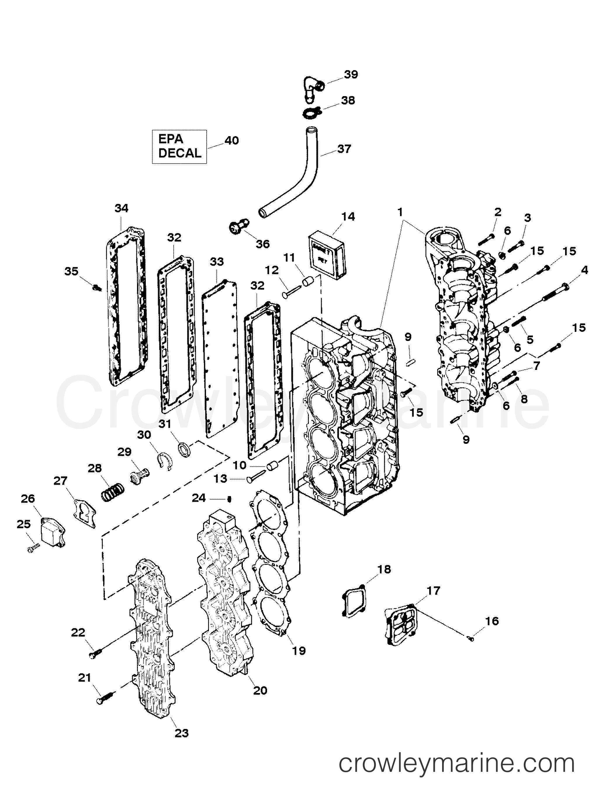 Cylinder block assembly 1998 force outboard 120 for Force outboard motor parts diagram