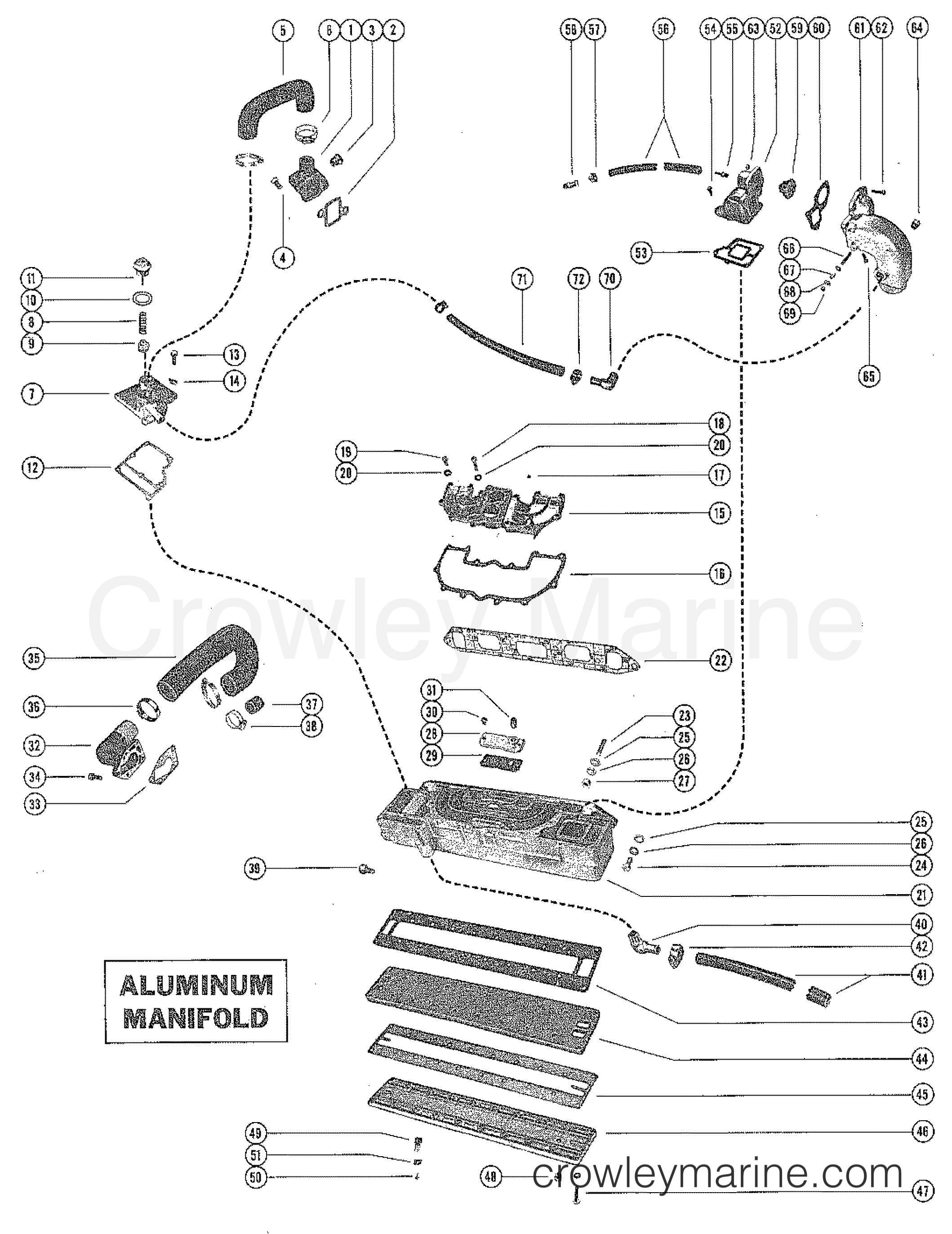 serial range mercruiser 120 gm 153 i/l4 1964-1972 - 1666601 thru 3377340