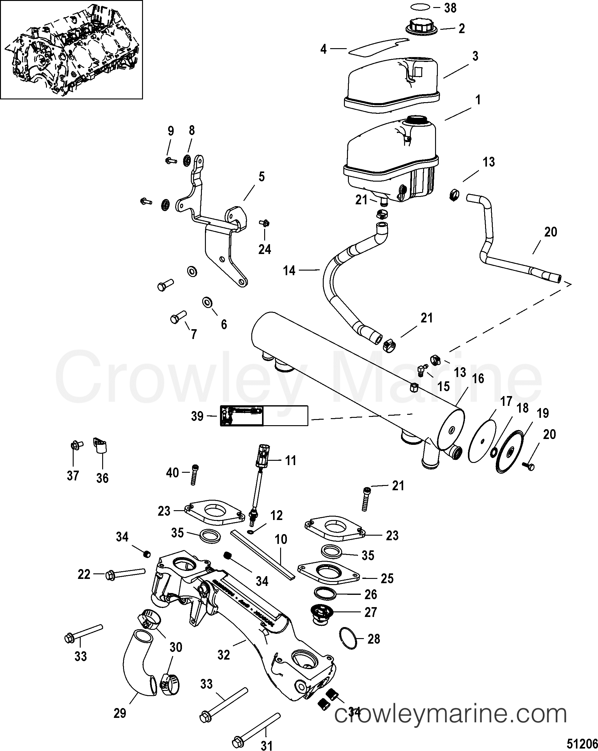 COOLING SYSTEM, FRESH WATER COMPONENTS (2A041665 & UP