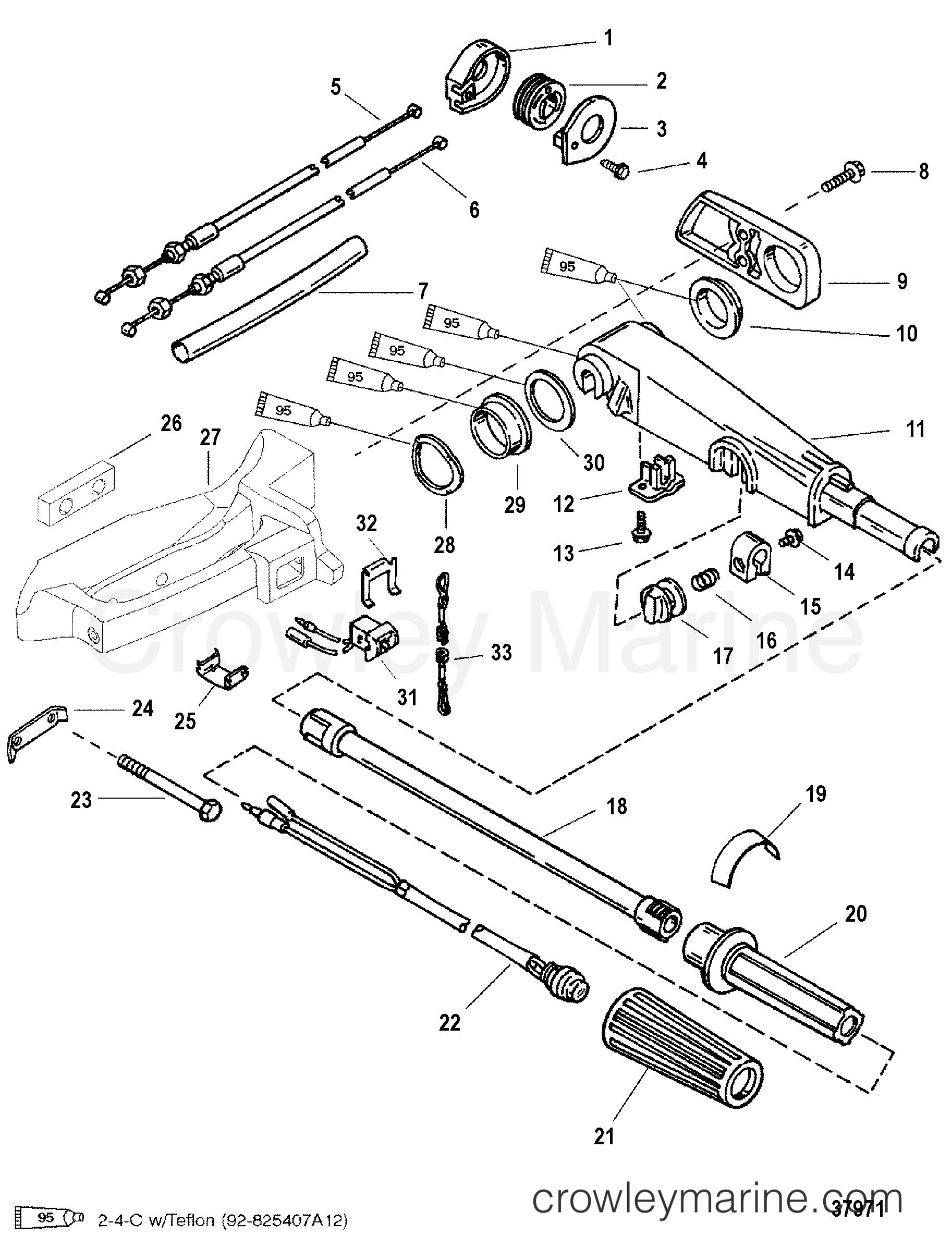 Tiller Handle Serial Range Mariner Outboard 30 Jet 3 Cyl Engine Diagram 9973100 Thru 0p016999