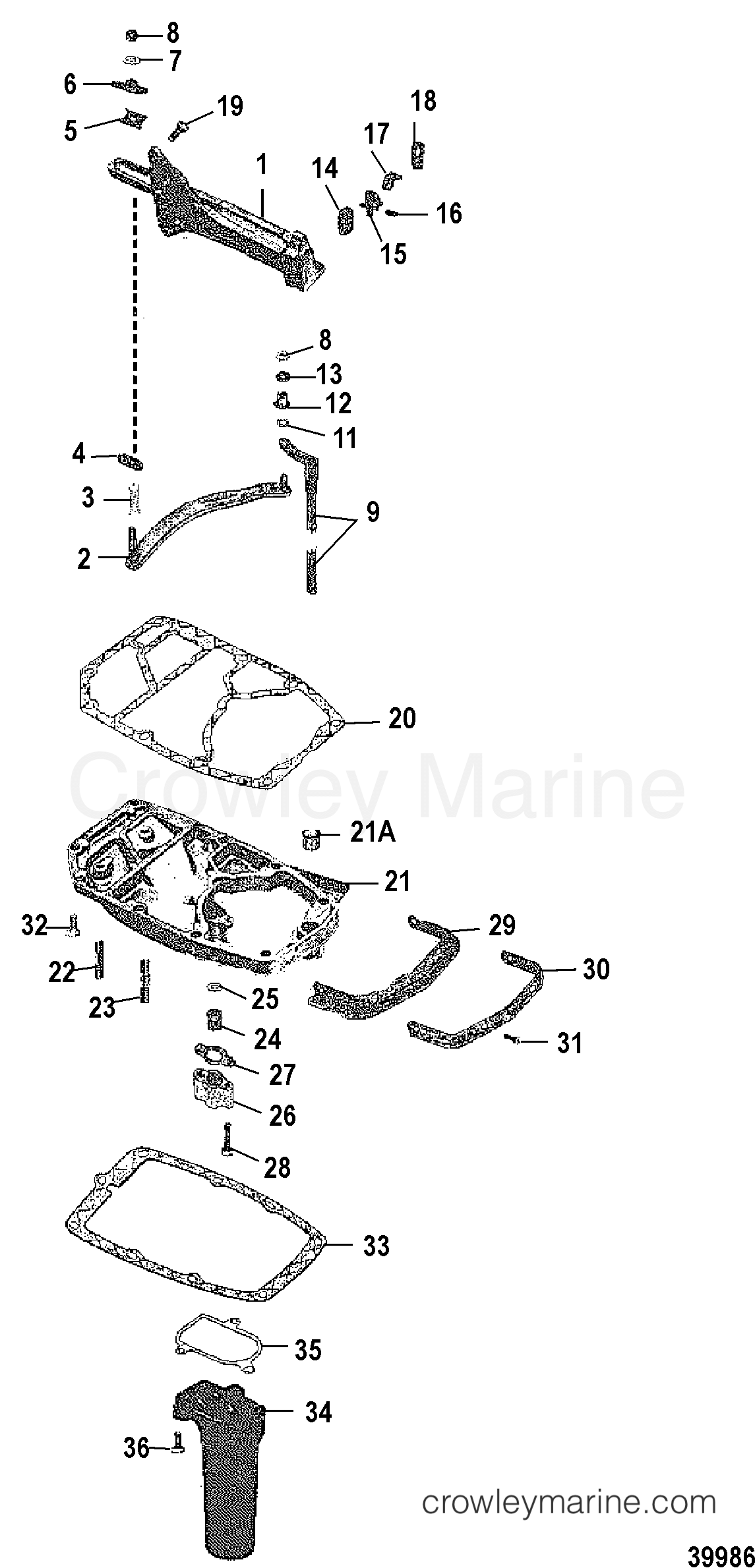 SHIFT LINKAGE AND EXHAUST PLATE - 1980 Mercury Outboard 70 [ELPT