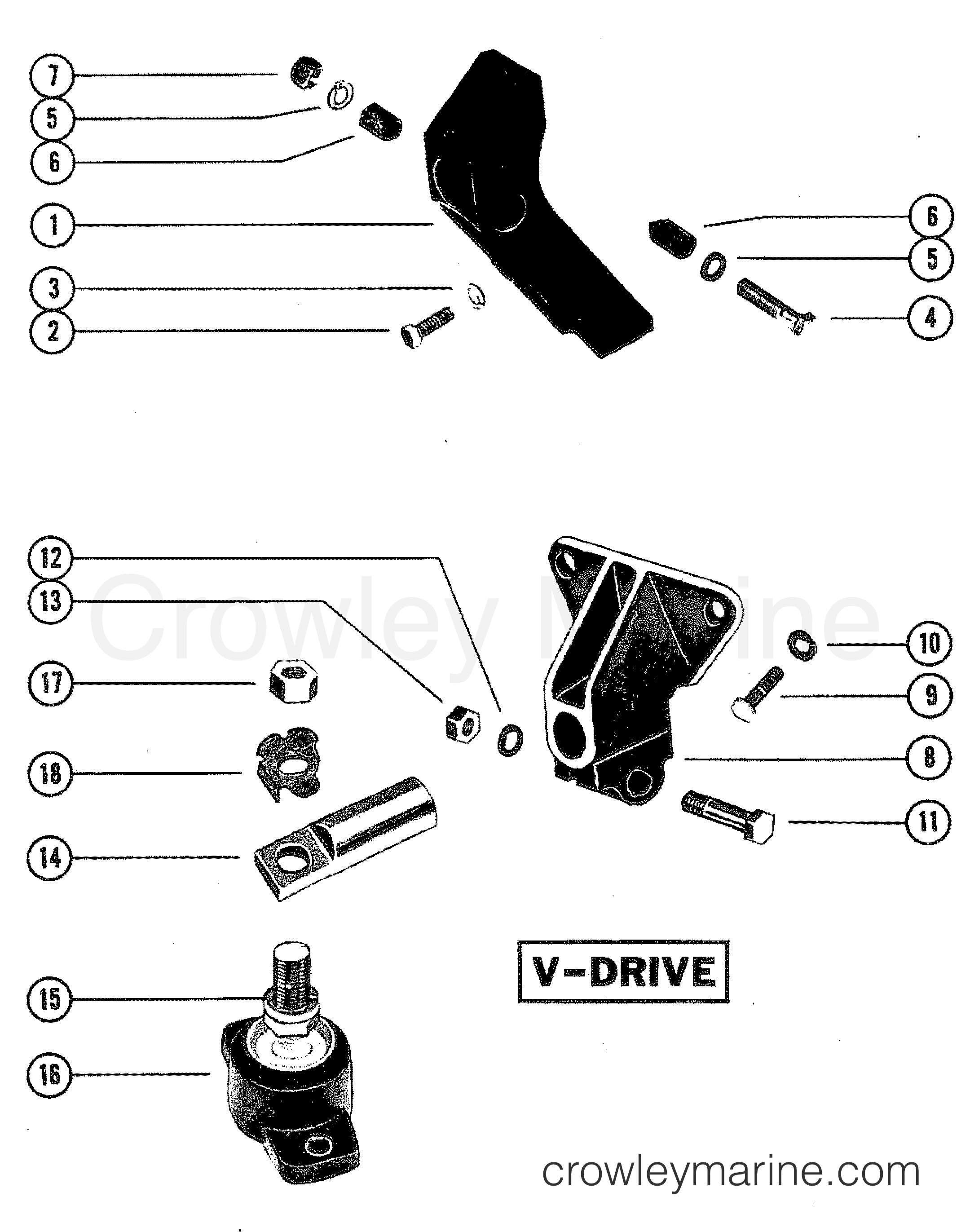 transmission and engine mounting  v-drive