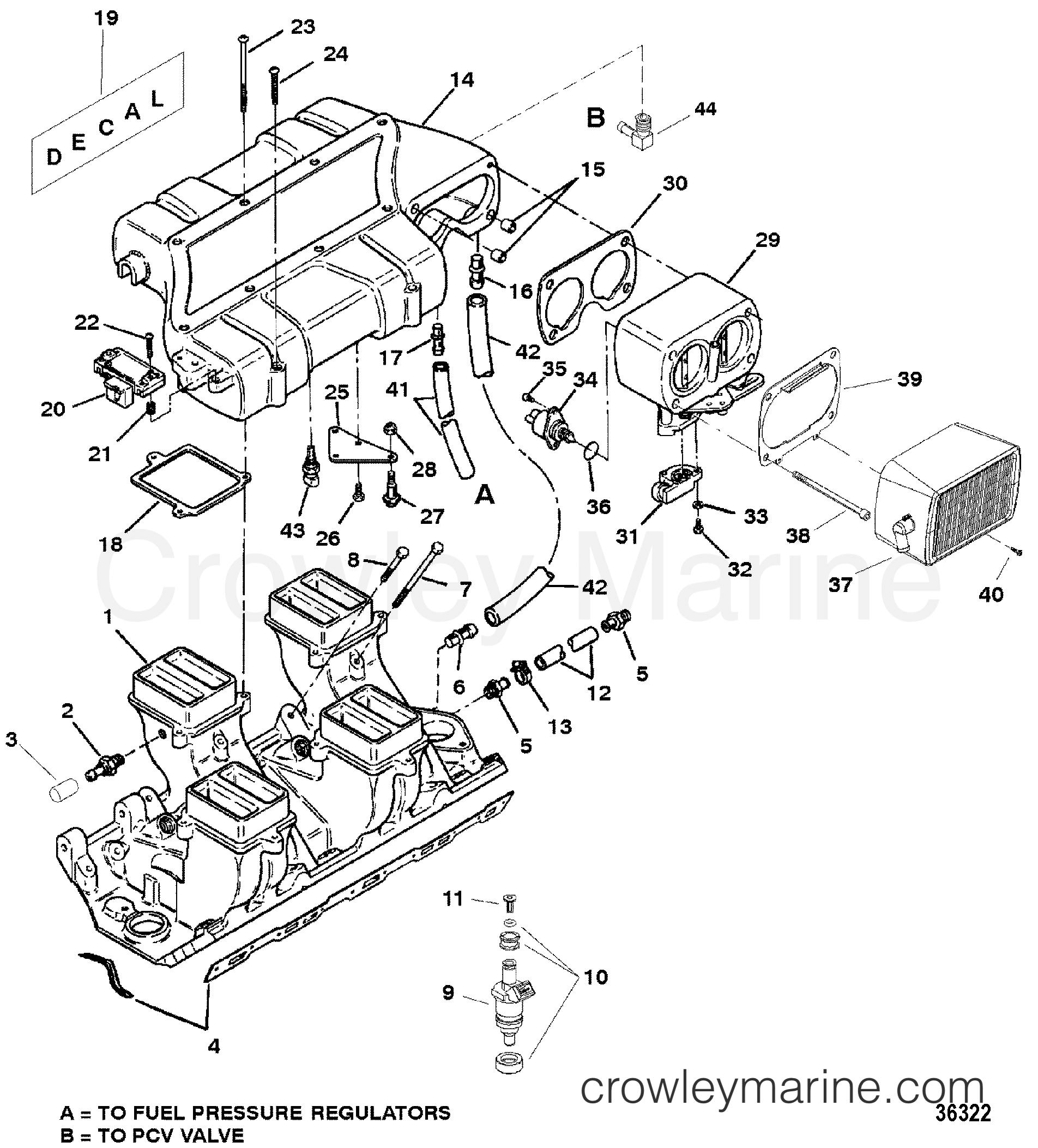 ... Wiring Diagram And Source · intake manifold and intake plenum 1998 mercruiser  454 mag bravo rh crowleymarine com mercruiser 454 magnum