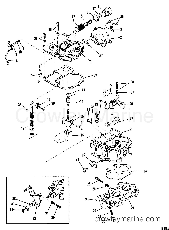 1991 Mercruiser 3.0LX [ALPHA] - 430L1001R - CARBURETOR(MERCARB) 0D447415 THRU 0D836075 section