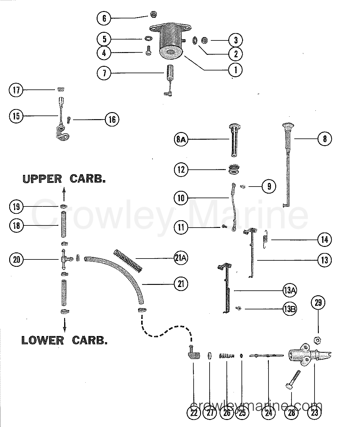 carburetor linkage and choke solenoid - 1976 mercury ... 1976 mercury outboard diagram #13