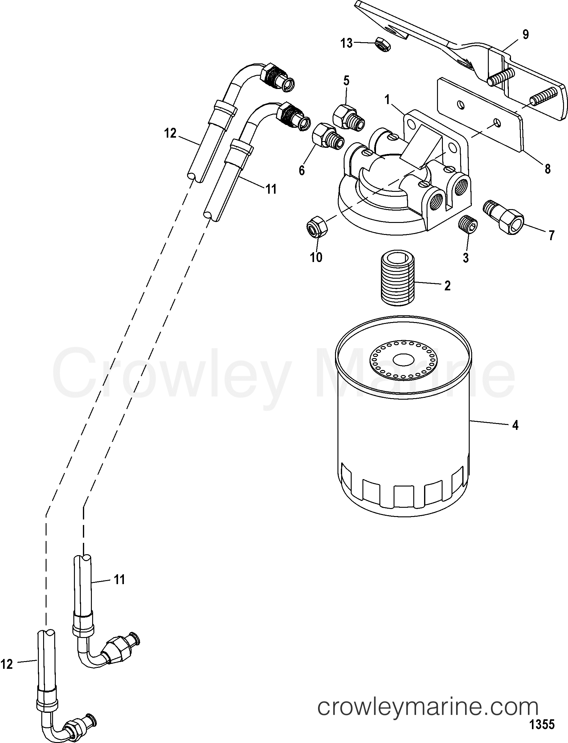 fuel filter 1998 mercruiser 4 3l alpha mpi 424106lrs crowley rh crowleymarine com mercruiser fuel system diagram mercruiser electric fuel pump diagram