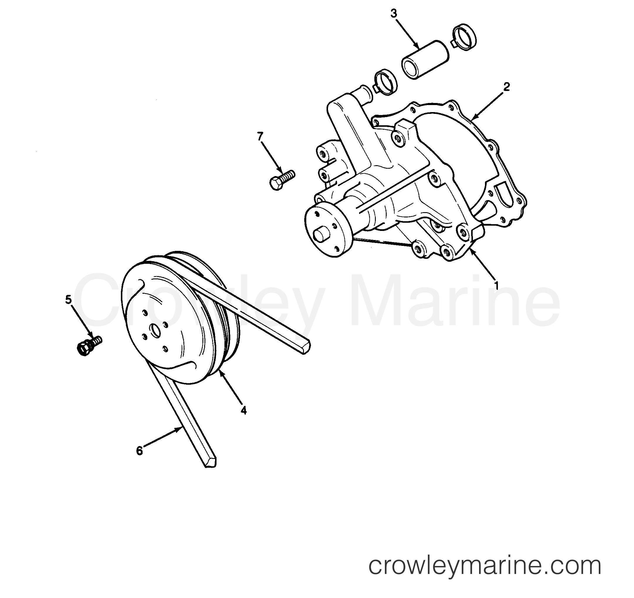 Engine Water Pump And Pulley