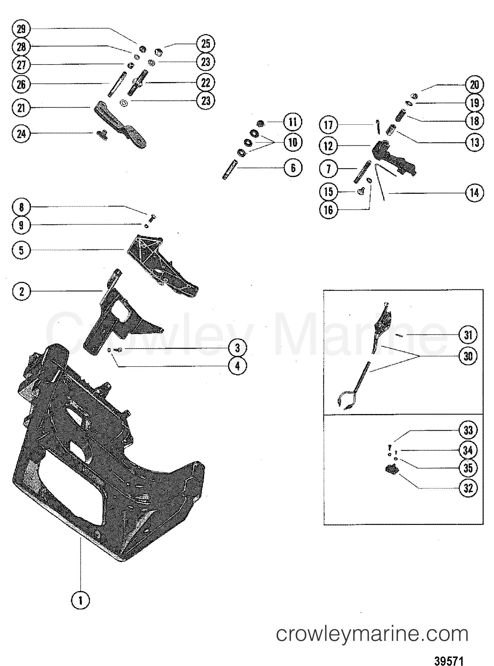 transom plate and shift lever in line engines 1981. Black Bedroom Furniture Sets. Home Design Ideas