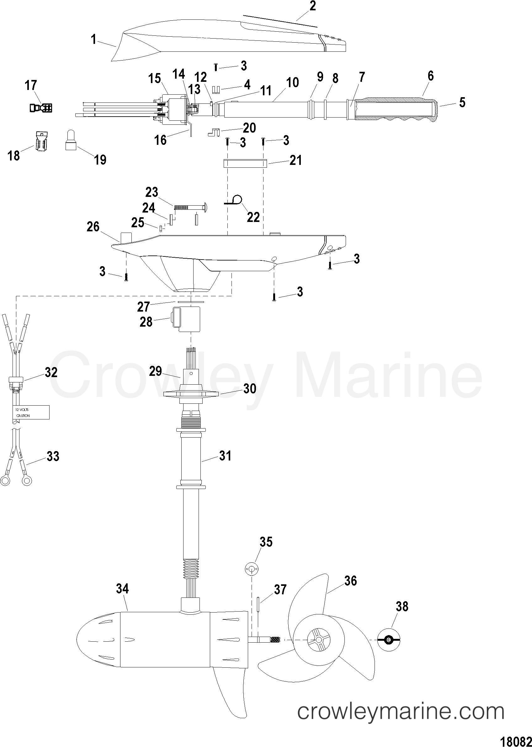 2005 MotorGuide 12V [MOTORGUIDE] - 921310040 COMPLETE TROLLING MOTOR(MODEL FW54HP) (12 VOLT) section