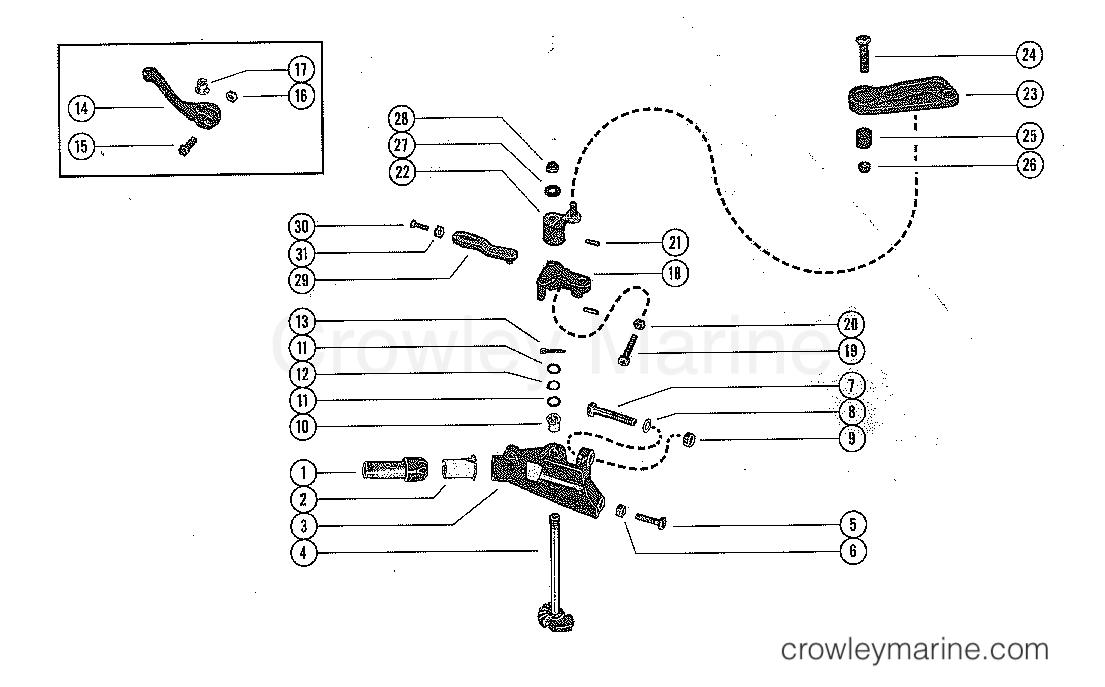 THROTTLE CONTROL LINKAGE - Serial Range Mercury Outboard 200