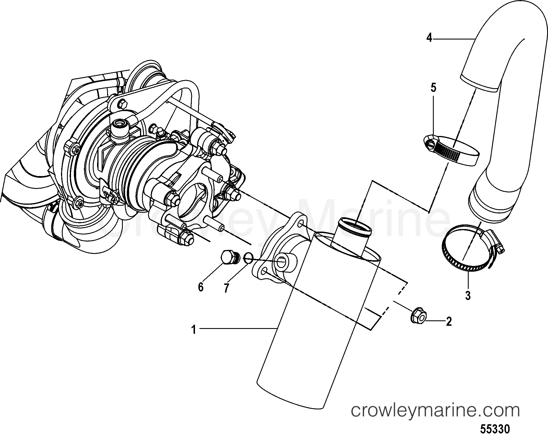 exhaust components inboard 2014 mercury inboard engine 2 0l ei 170 30200071u crowley marine