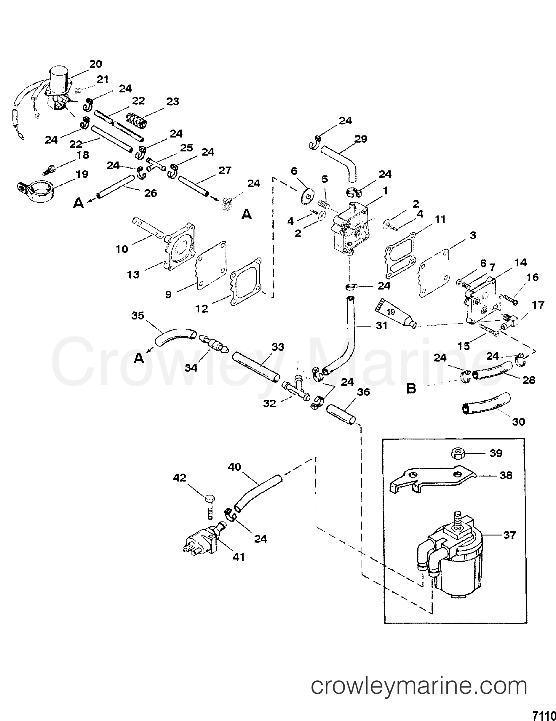 2000 Mariner Outboard 40 [EO] - 7041302JF - FUEL PUMP(ELECTRIC)(DESIGN I) section