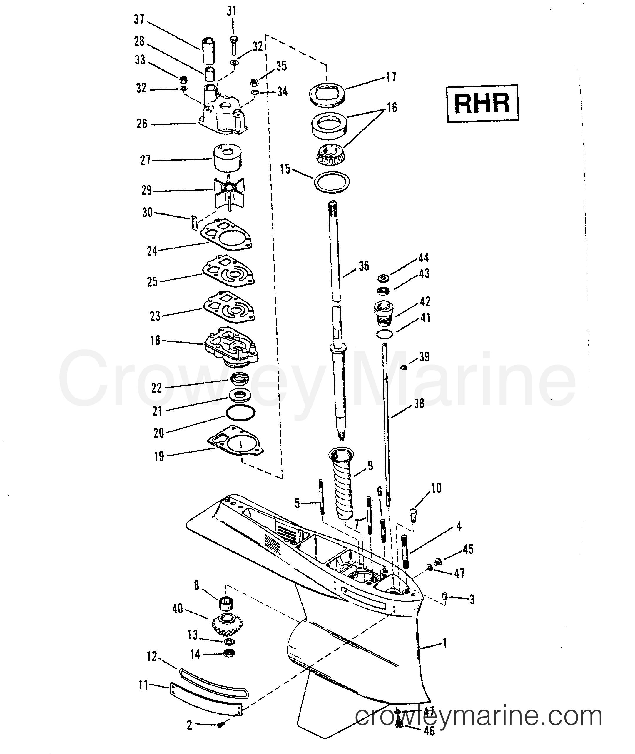 1991 Mercury Race Outboard 2.5L [L EFI] - 7925211YH - GEAR HOUSING (DRIVE SHAFT)RHR 2-HOLE WATER PICK-UP section